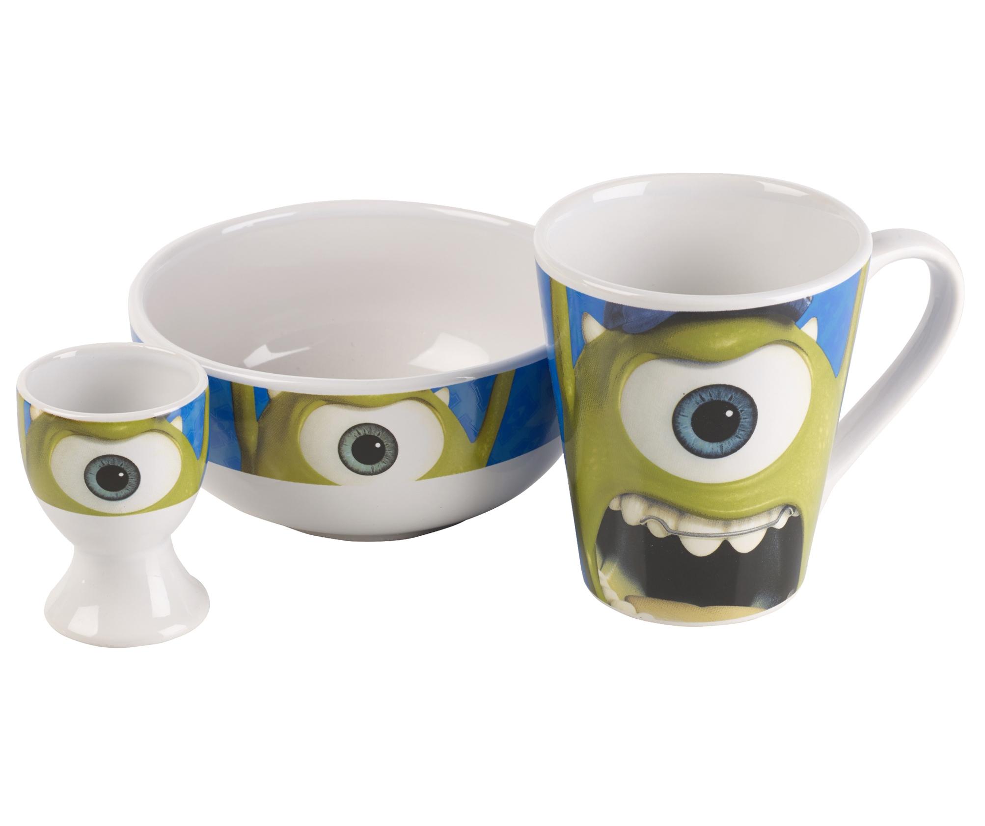 Disney Pixar Monsters University 3 Piece Room In A Box: Kids Disney Monsters University 3 Piece Ceramic Breakfast