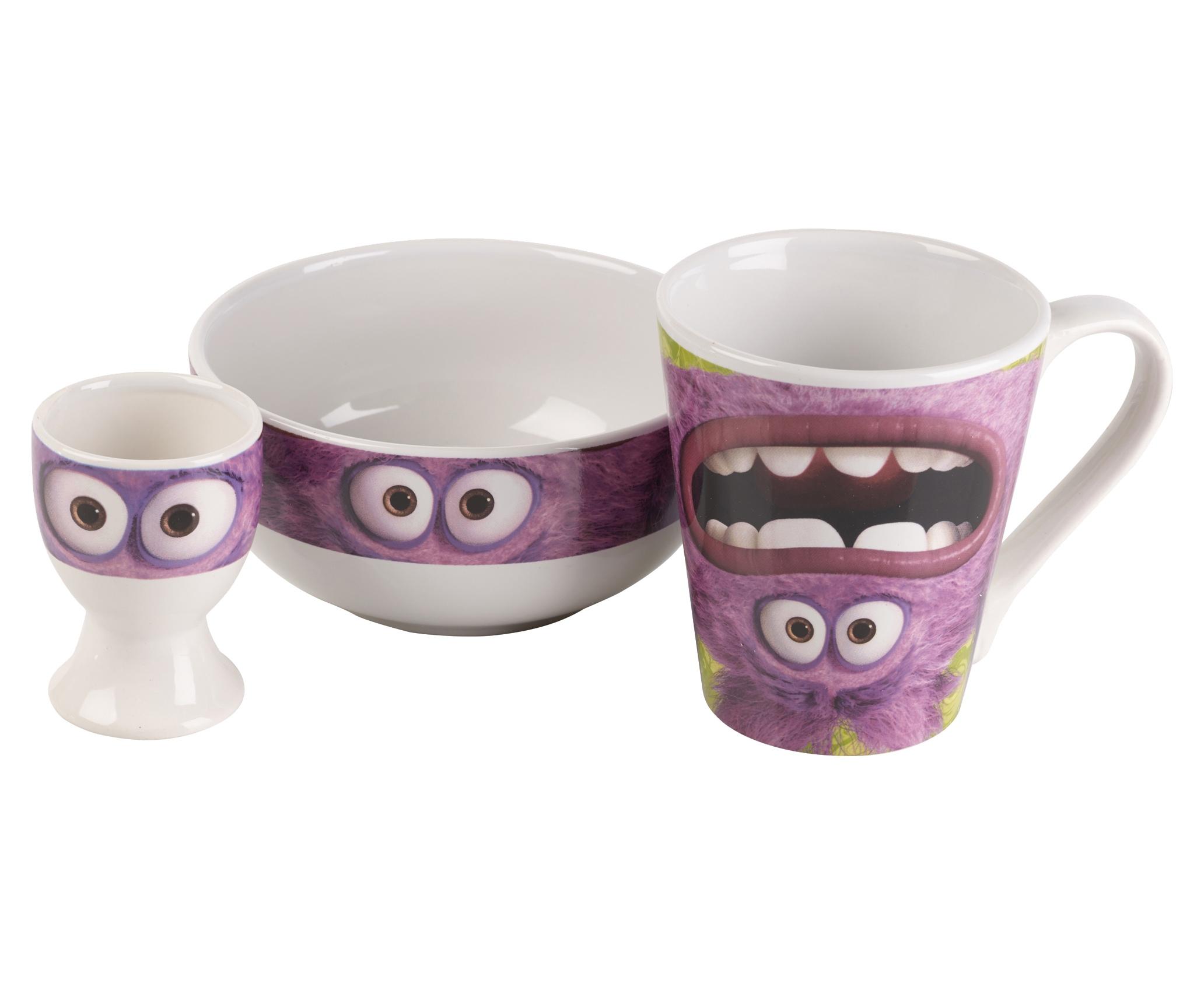 kinder disney monsters university 3 st ck keramik fr hst cksset sp le becher ebay. Black Bedroom Furniture Sets. Home Design Ideas
