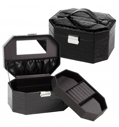 Black Crocodile Leather Effect Jewellery Box With Mirror [029859 - Art No. 330712