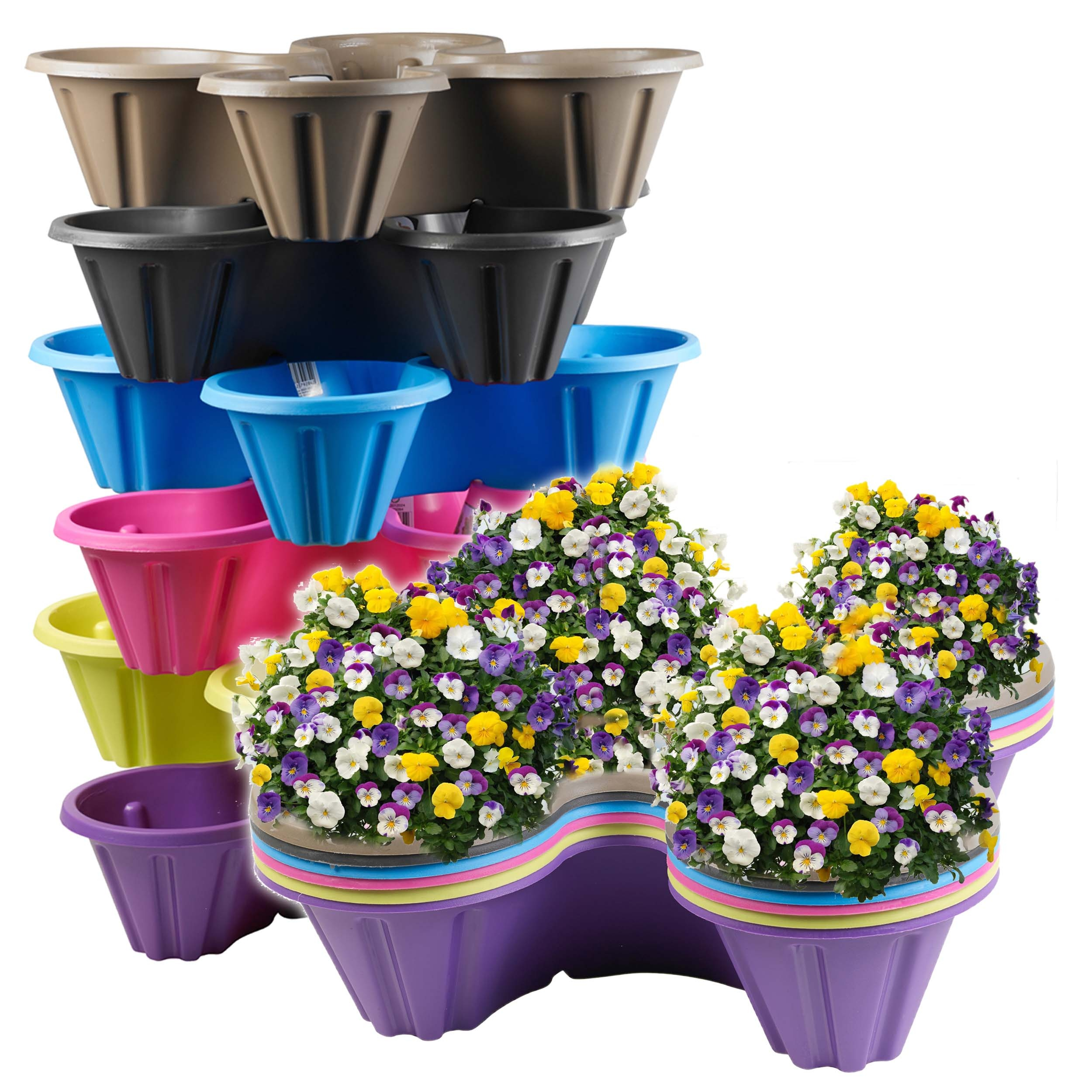 coloured plastic flower pots – greenfain