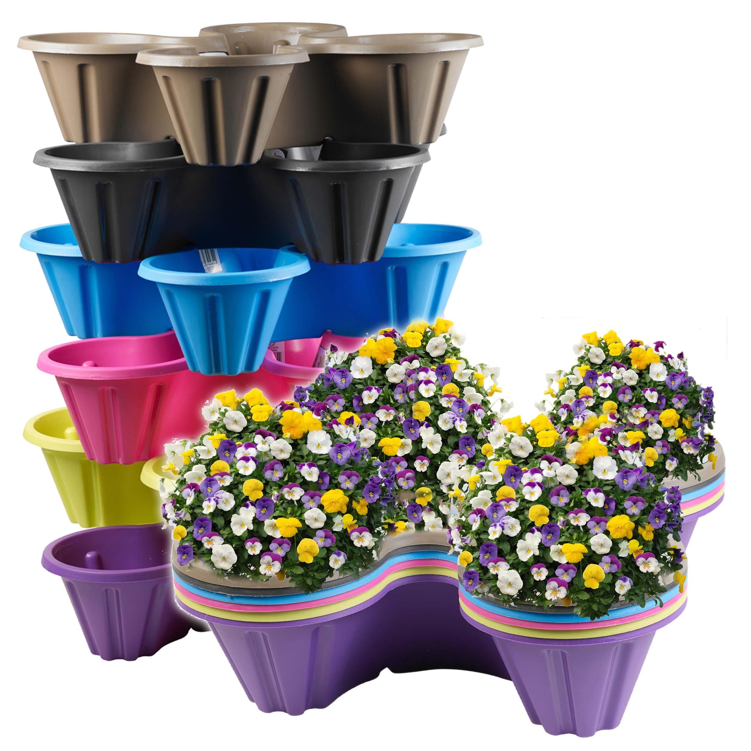stackable plastic 4 plants flower pots pot holder