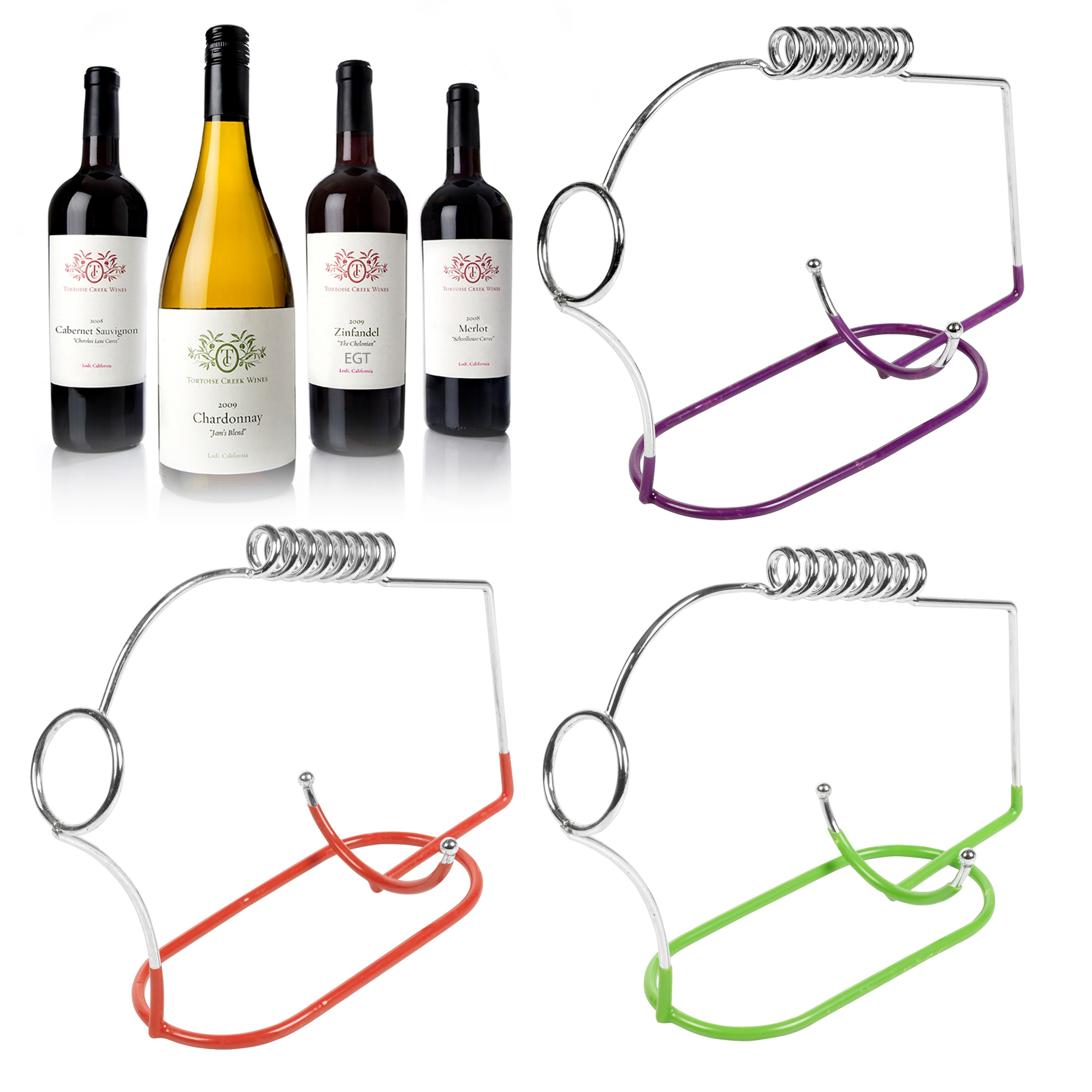 Wire wine bottle holder port rack chrome bar accessory metal champagne novelty ebay - Wire wine bottle carrier ...