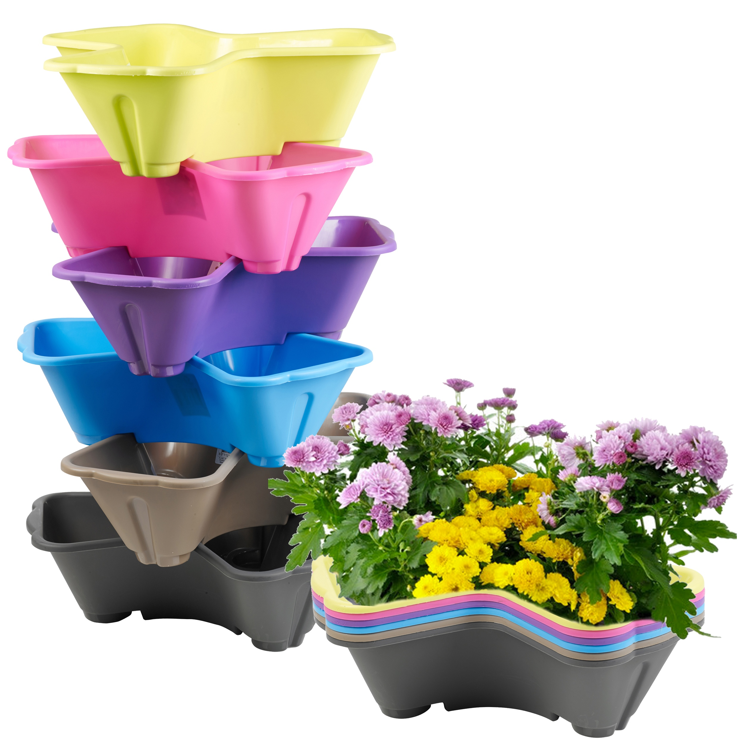 Stackable Plastic 3 Plants Flower Pots Pot Holder Coloured Herb Planter Garde