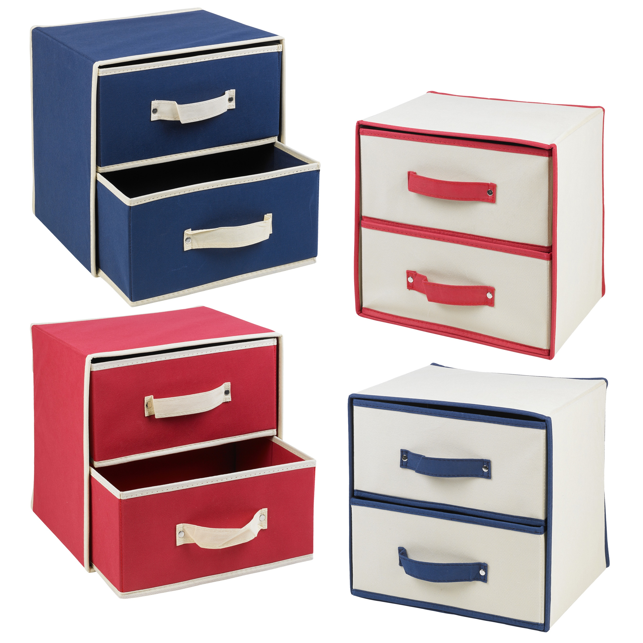 Collapsible fabric 2 drawer storage boxes containers bits for Fabric storage