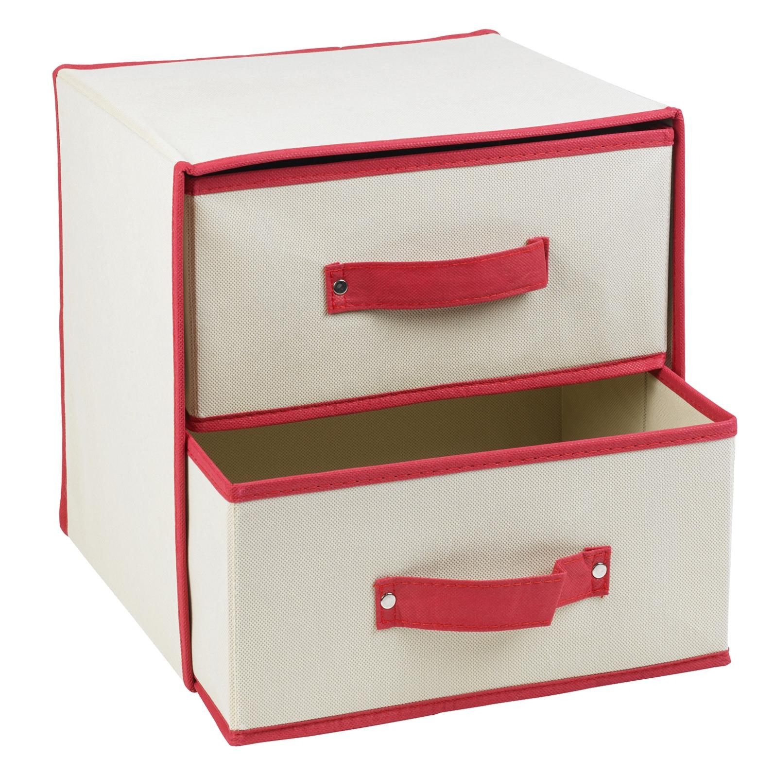 Apilables tela 2 caj n cajas almacenaje contenedores - Cajas tela almacenaje ...