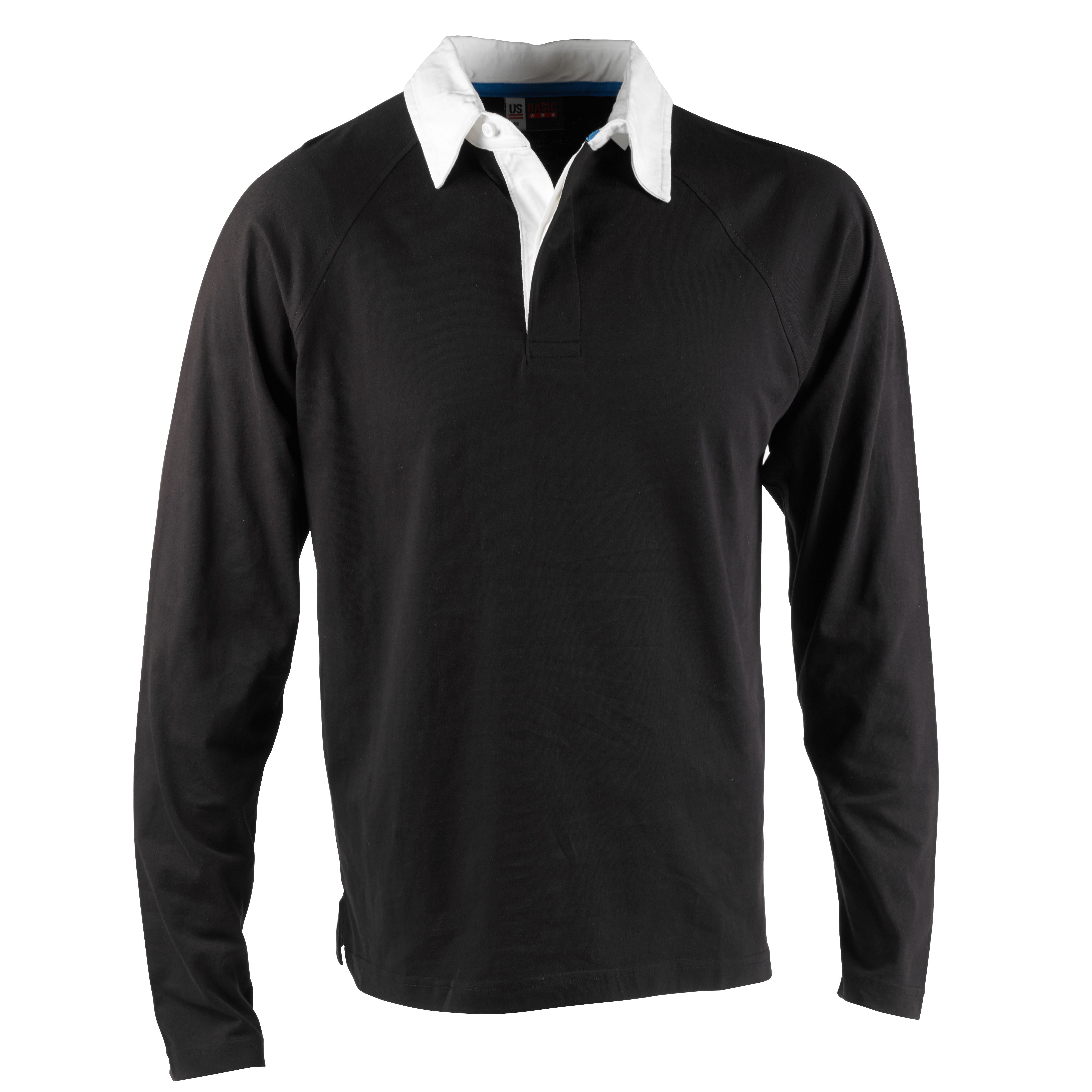 Mens Us Basic Black Rugby Shirt Polo White Collar Top Long