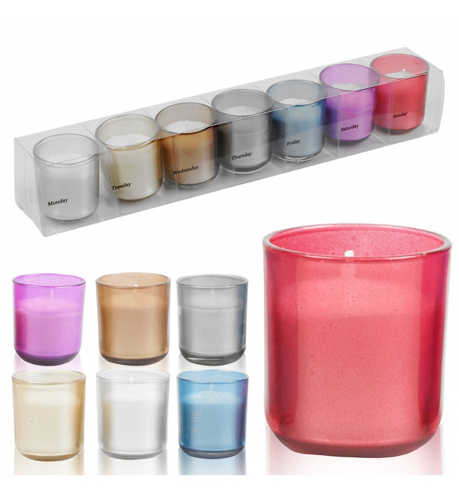 Https Www Easygiftproducts Co Uk Scented Candles 7pc Coloured Candle Set In Glasses 3630