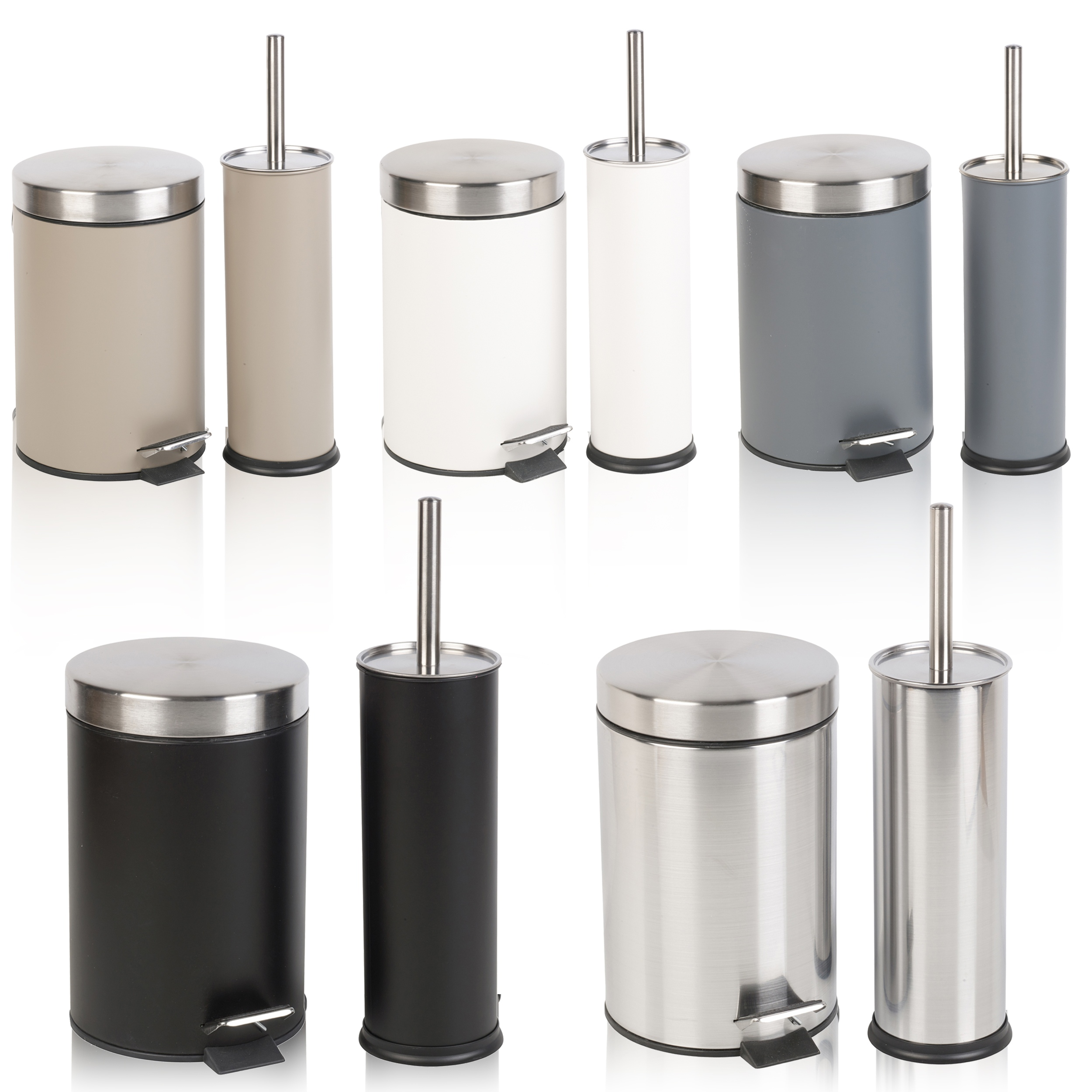 Stainless Steel Bathroom Pedal Bin & Toilet Brush Colour