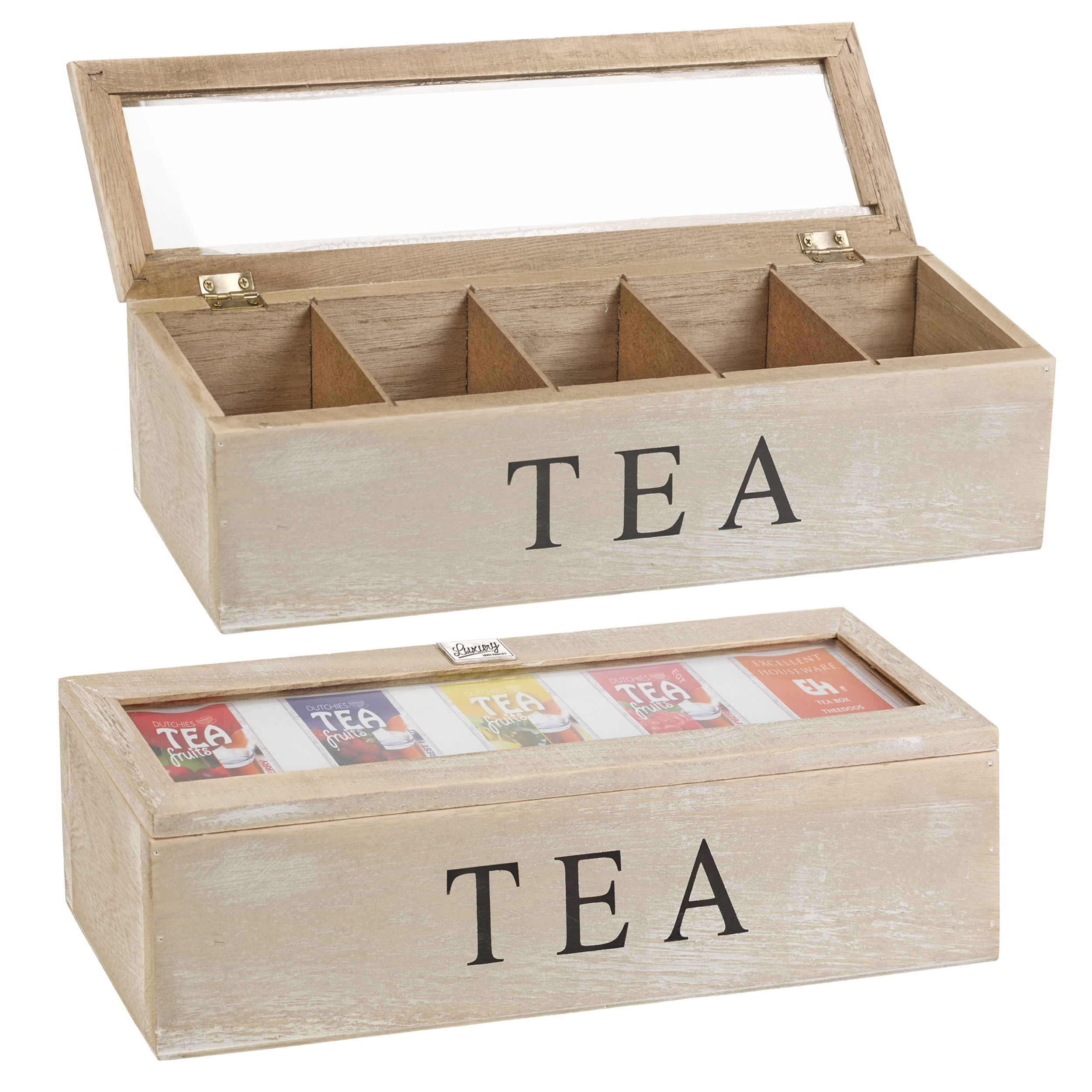 Distressed Wooden Tea Box 5 Sections Compartments ...