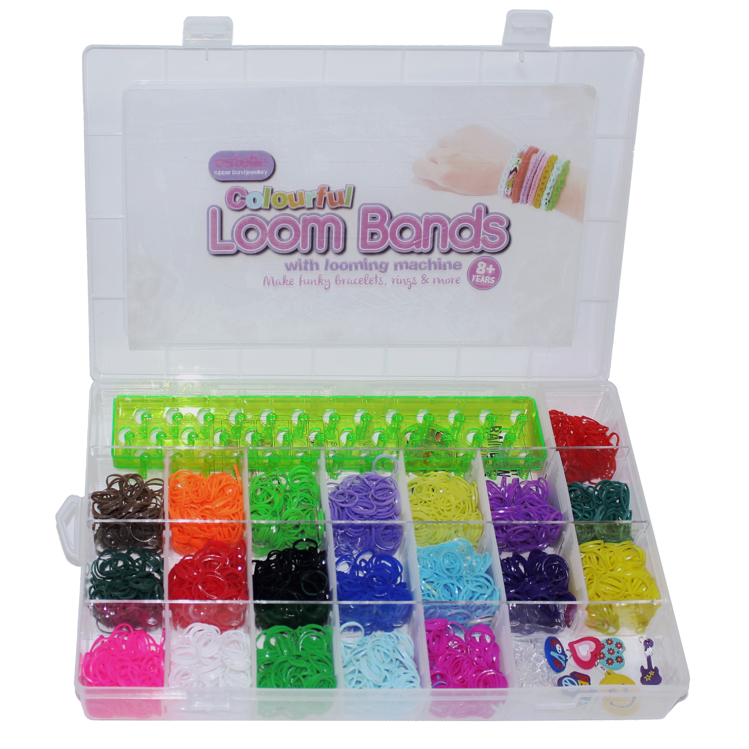 2200pc Colourful Rainbow Rubber Loom Bands Bracelet Making