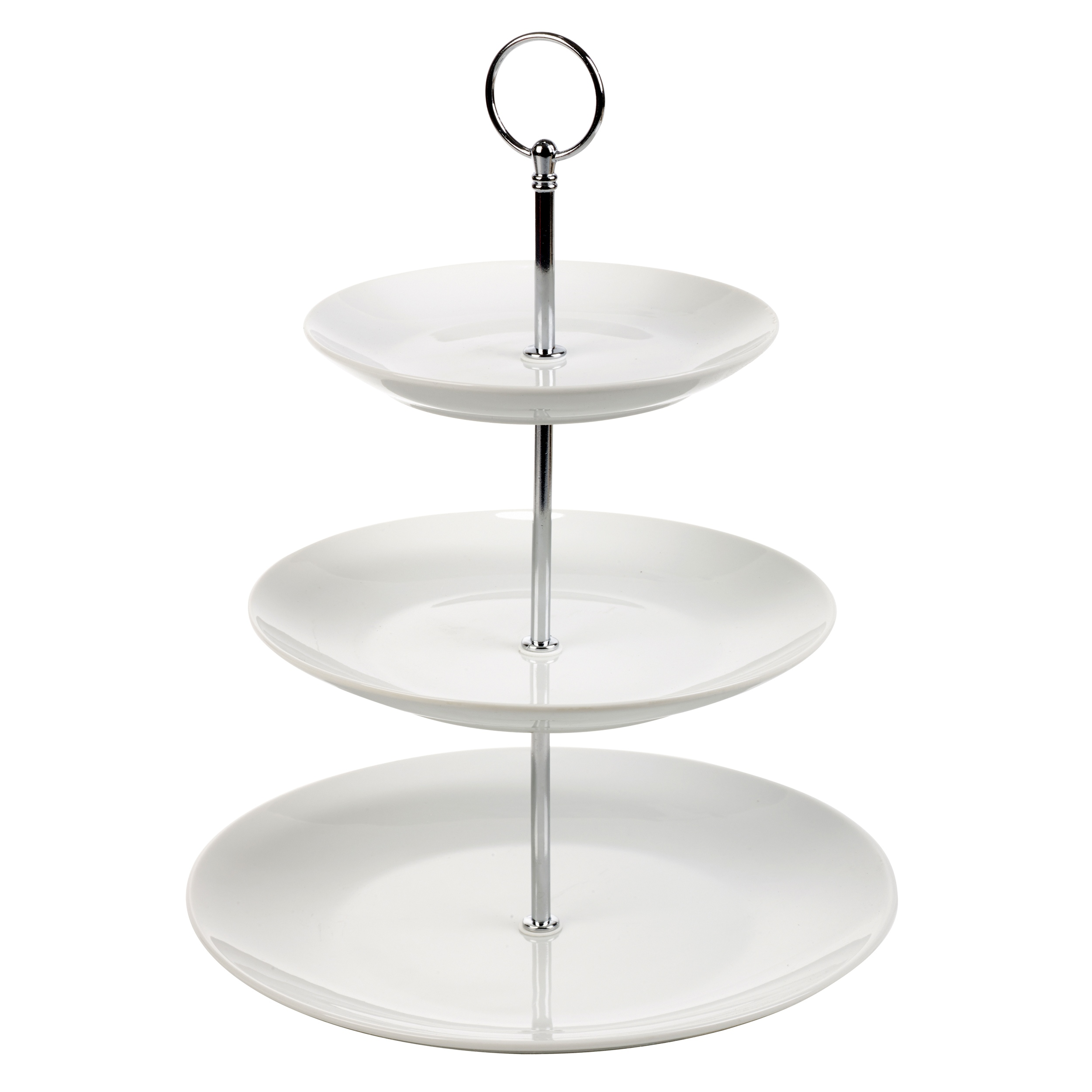 3 layer tier ceramic white round serving display cakes for Canape display stands
