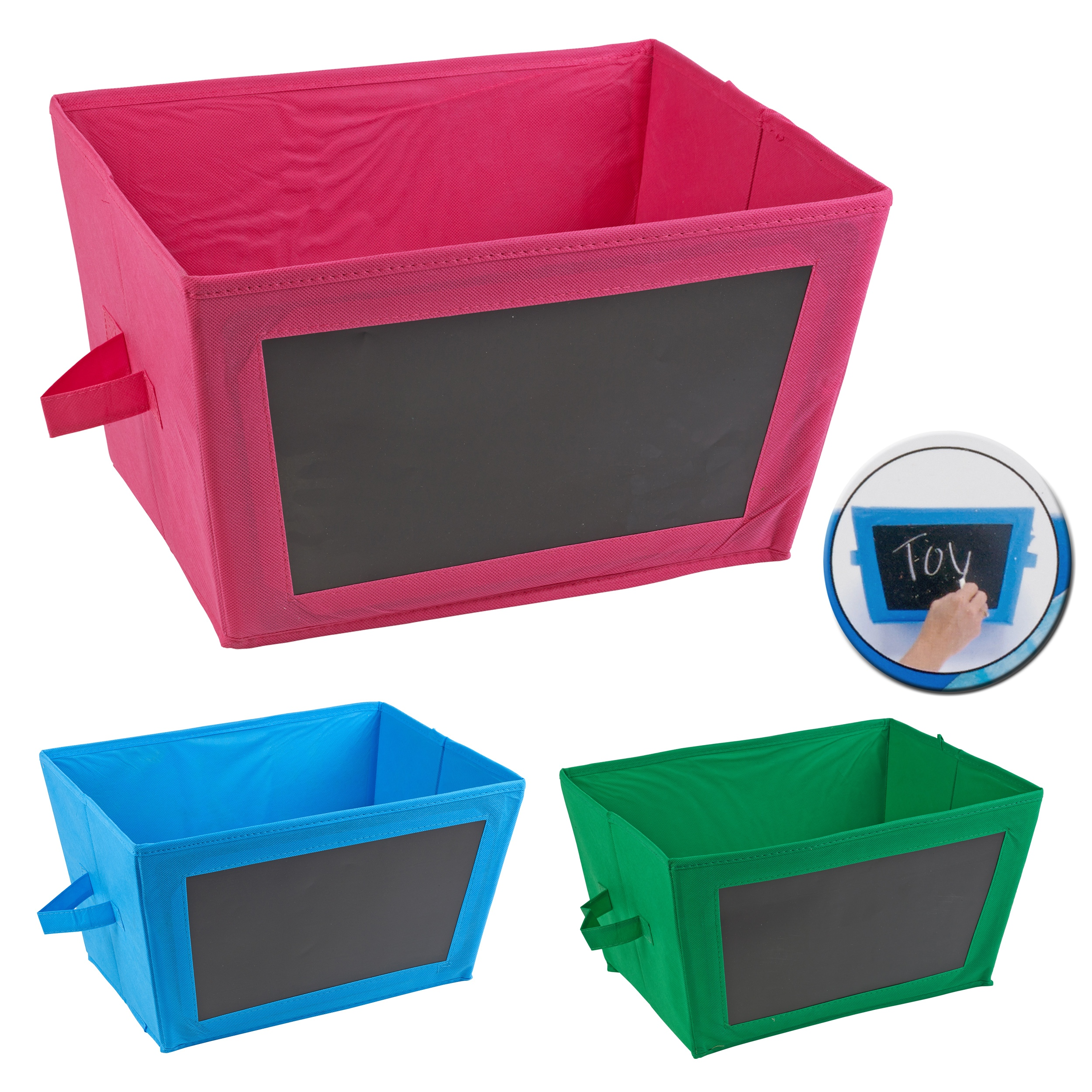 Collapsible Fabric Storage Boxes Chalkboard Side Containers Bits Bobs .