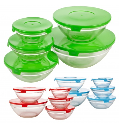 5pc Glass Bowl Set with Coloured Lid [578373]