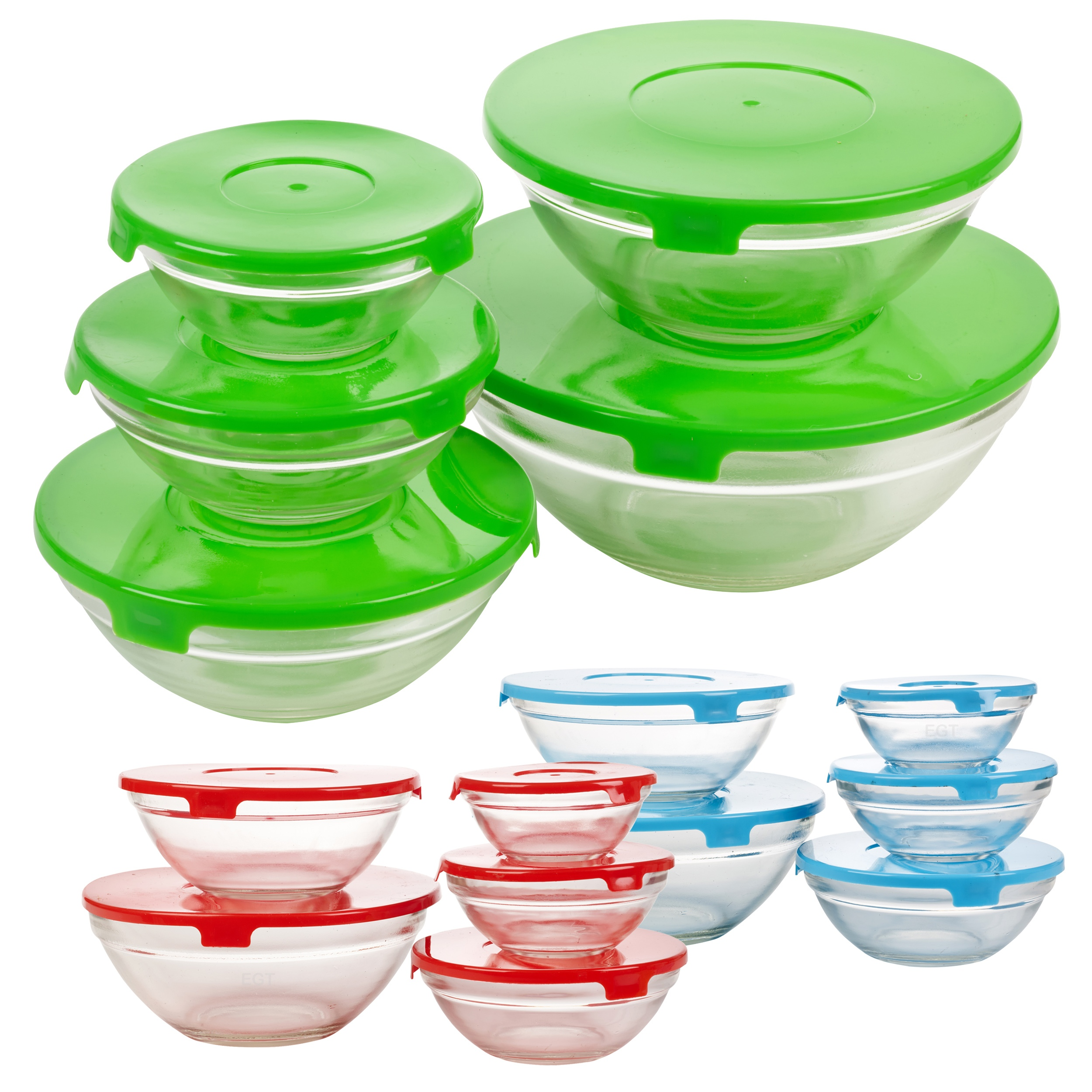 Set Of Five Glass Storage Serving Mixing Bowls Containers ...