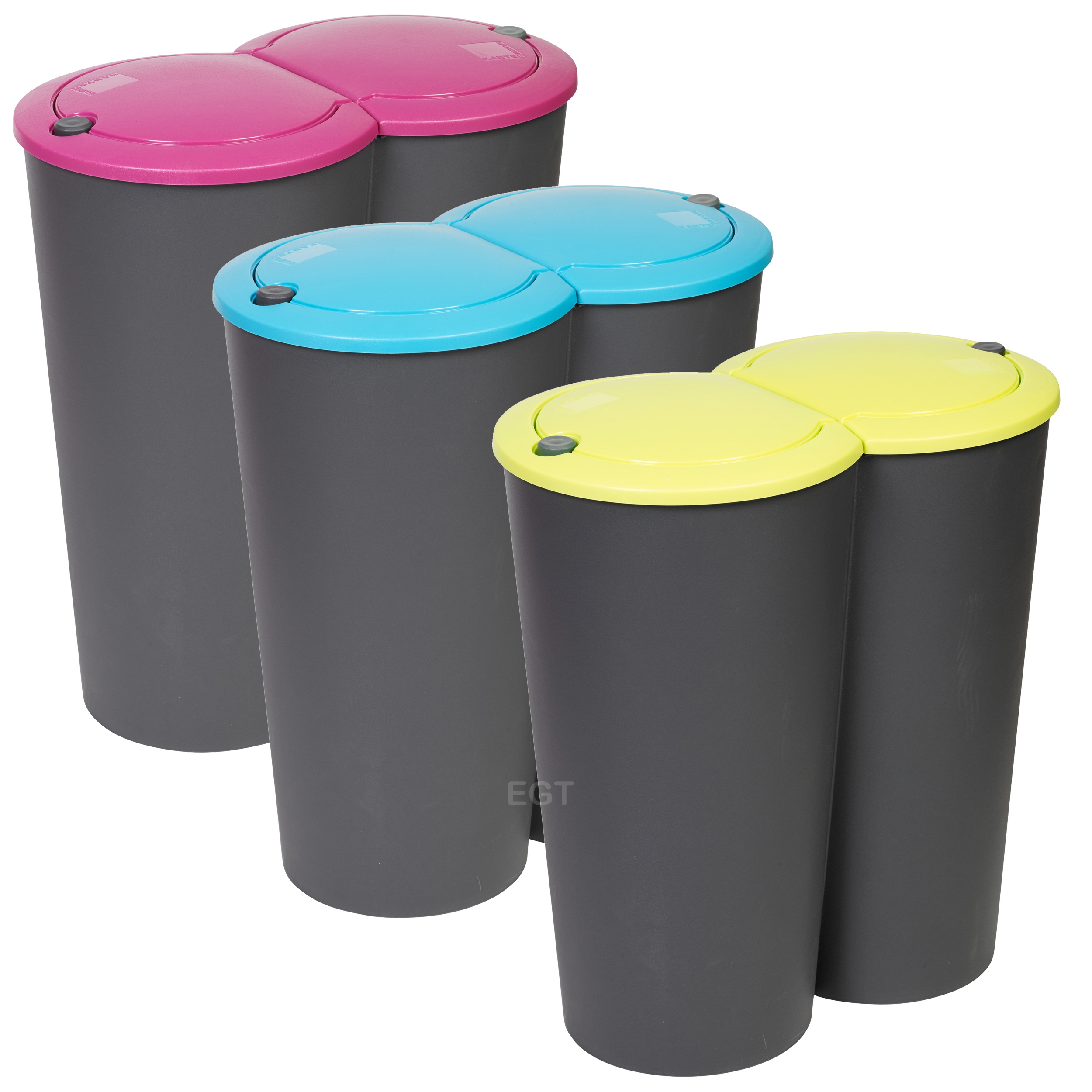 Circular Double Recycling Waste Bin Duo Rubbish Plastic Disposal 2 x ...