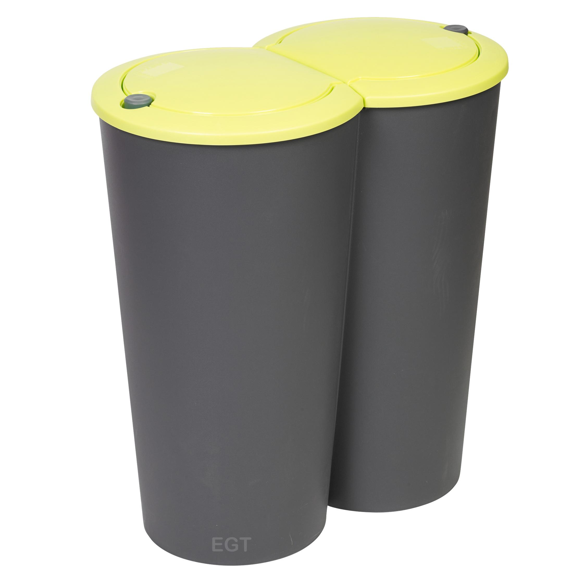 Circular Double Recycling Waste Bin Duo Rubbish Plastic Disposal 2 X 25  Litre | EBay