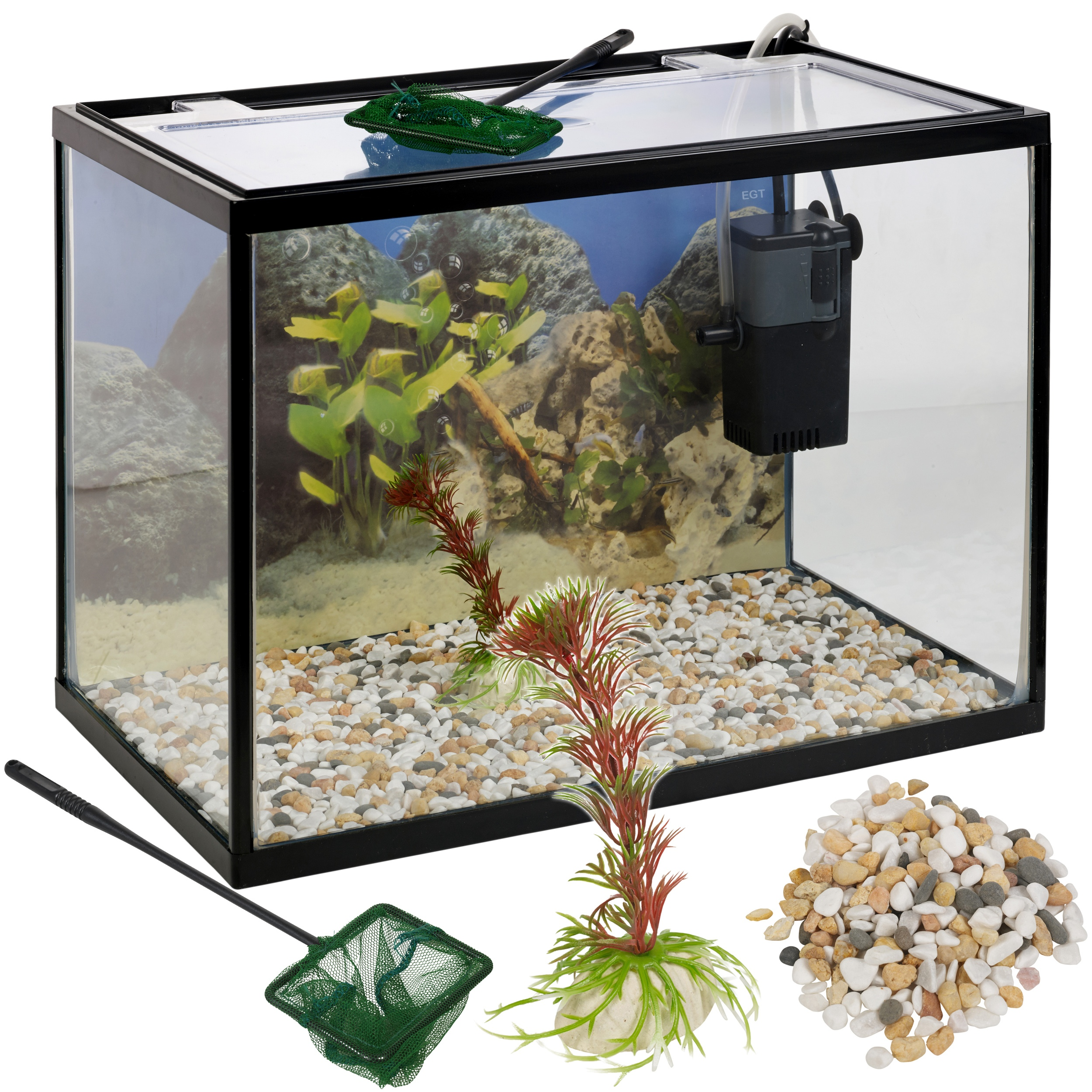 Pink fish tank aquarium with filter - 18 Litre Glass Aquarium Fish Tank Starter Set With Filter Pump Net Plant Stones