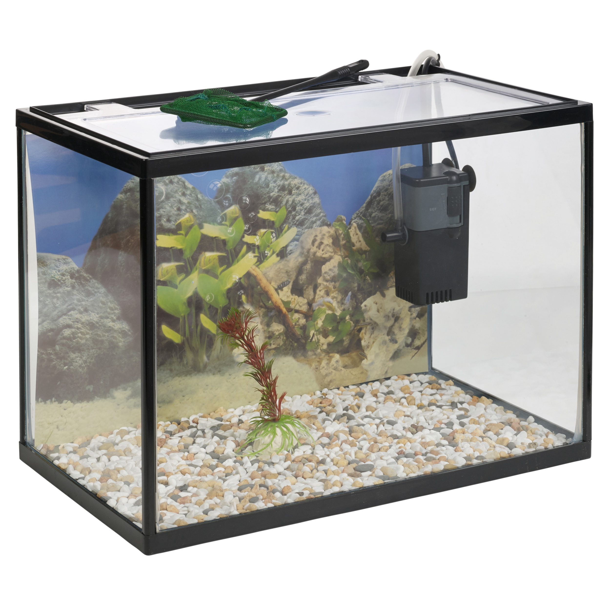 18 litre glass aquarium fish tank starter set with filter pump net plant stones ebay. Black Bedroom Furniture Sets. Home Design Ideas