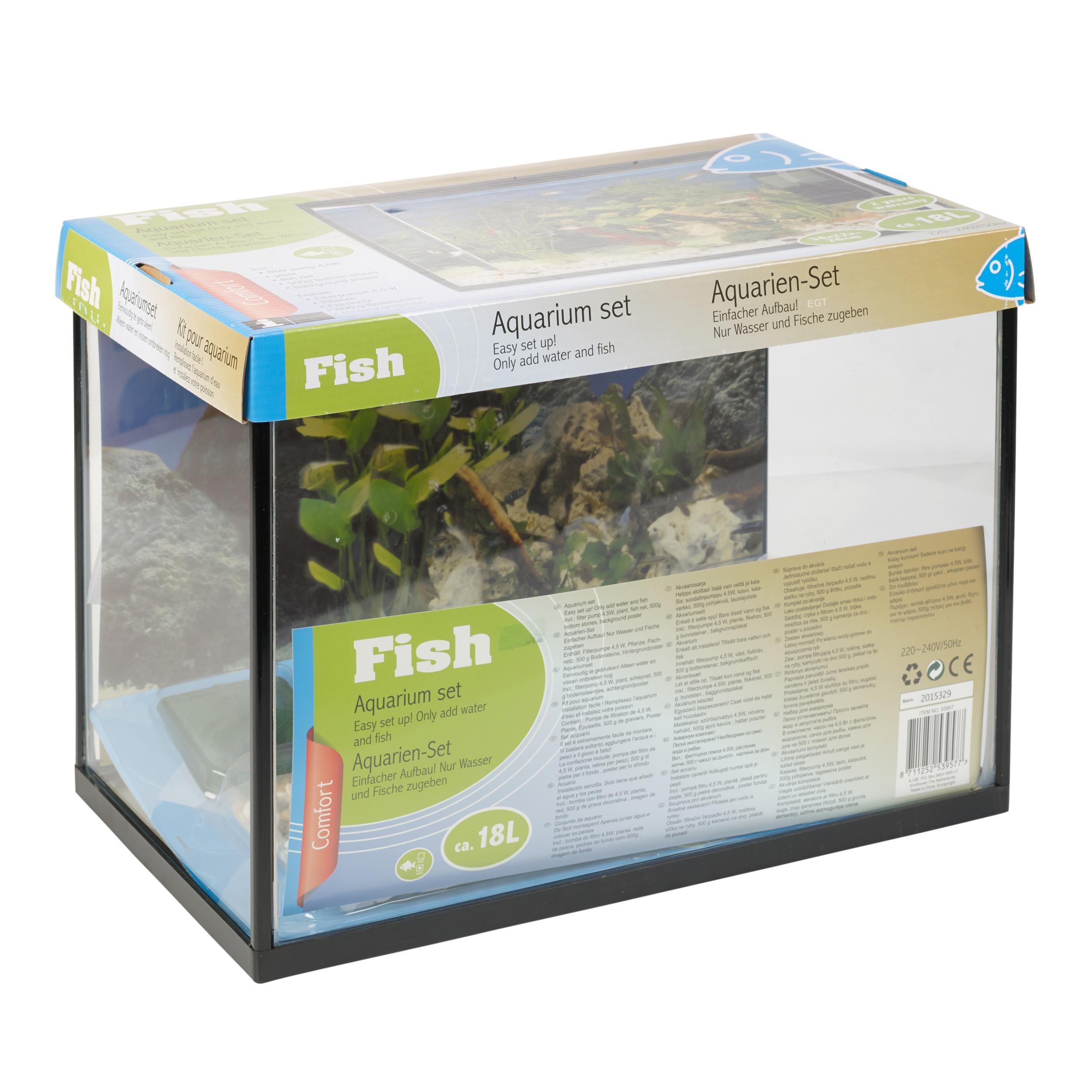 18 litre glass aquarium fish tank starter kit set filter for Fish tank starter kit