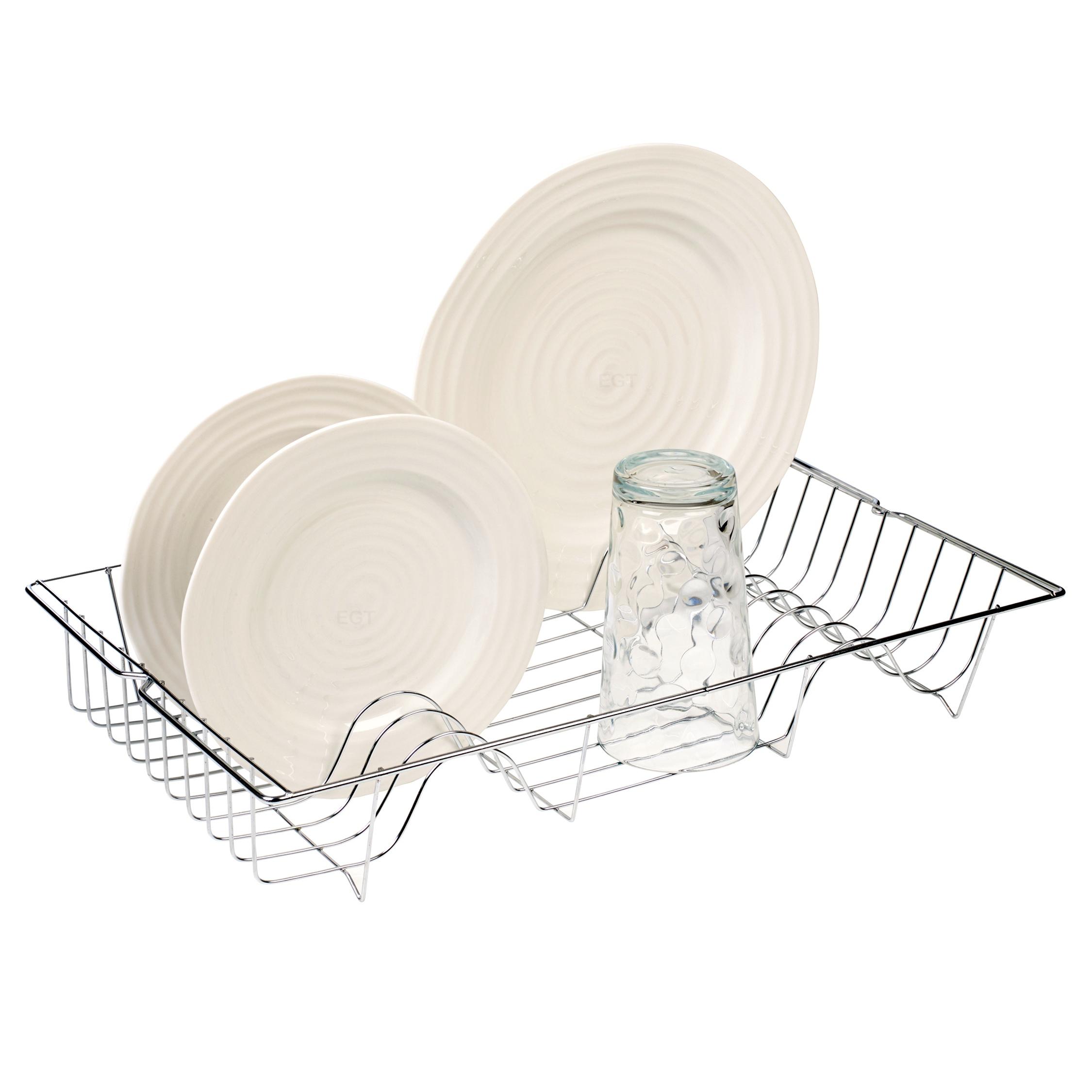 Metal Chrome Wire Dish Rack Kitchen Sink Drainer Washing