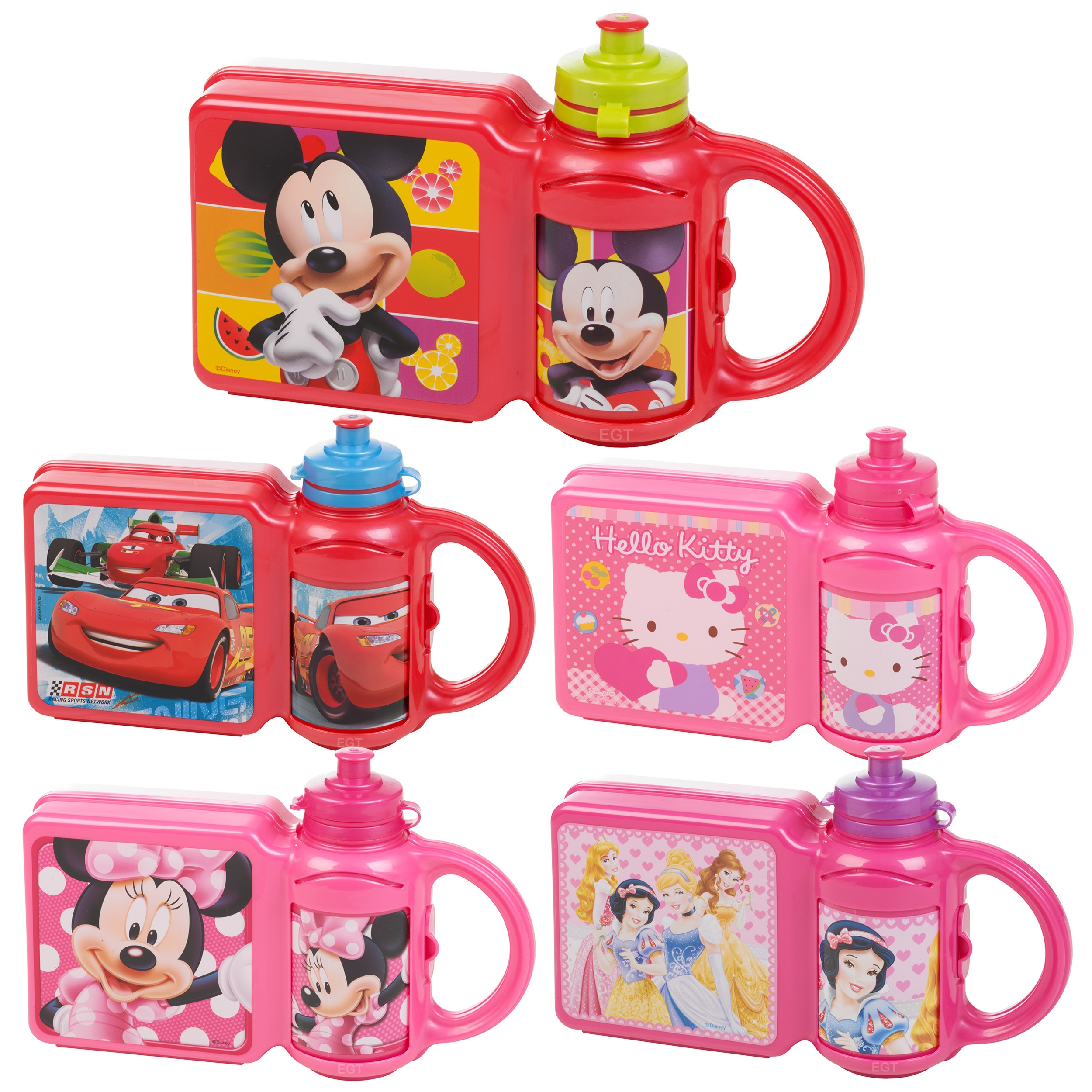 childrens disney lunch food box non spill sports bottle school travel bag set ebay. Black Bedroom Furniture Sets. Home Design Ideas