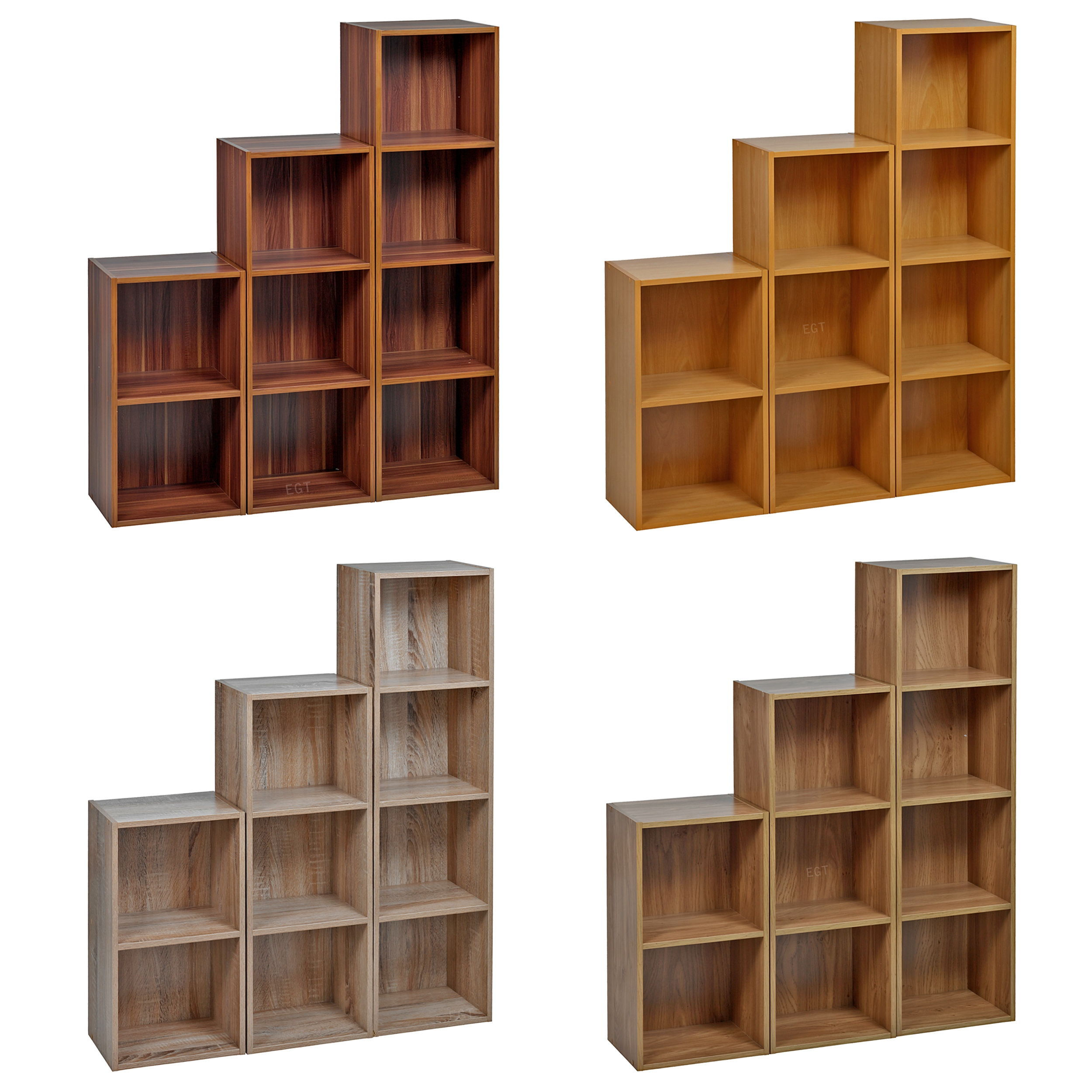 Tier Wooden Bookcase Shelving Display Storage Wood Shelf Shelves Unit