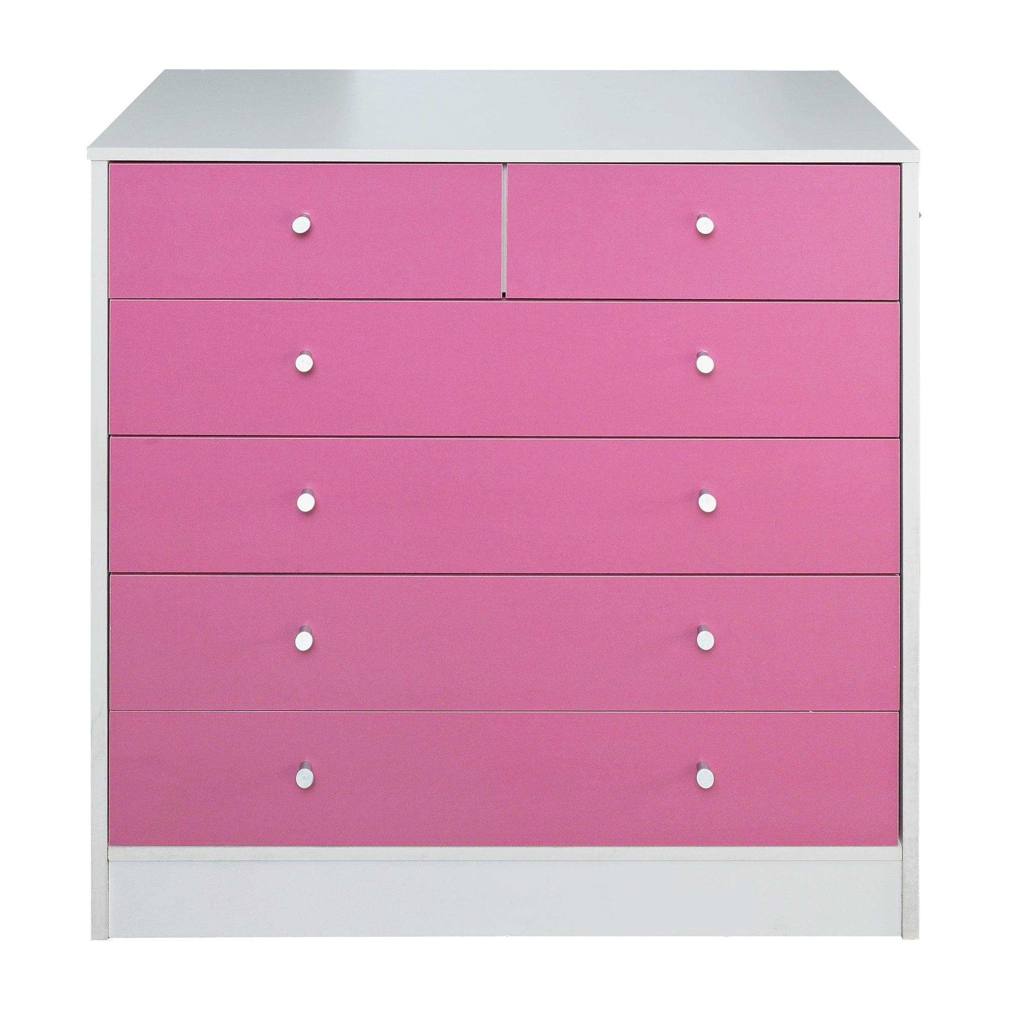 malibu 4 2 drawer chest pink on white bedroom furniture
