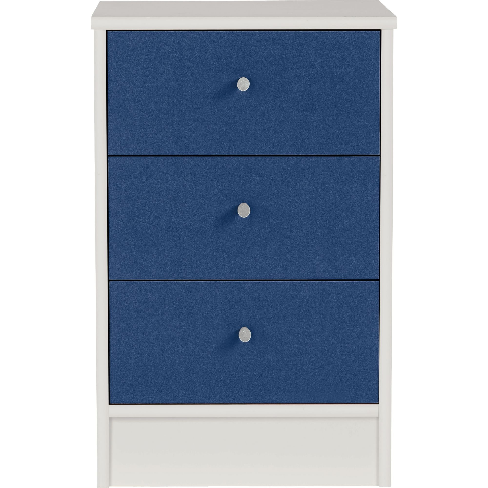 Malibu 3 Drawer Bedside Chest Of Draws Blue On White Table