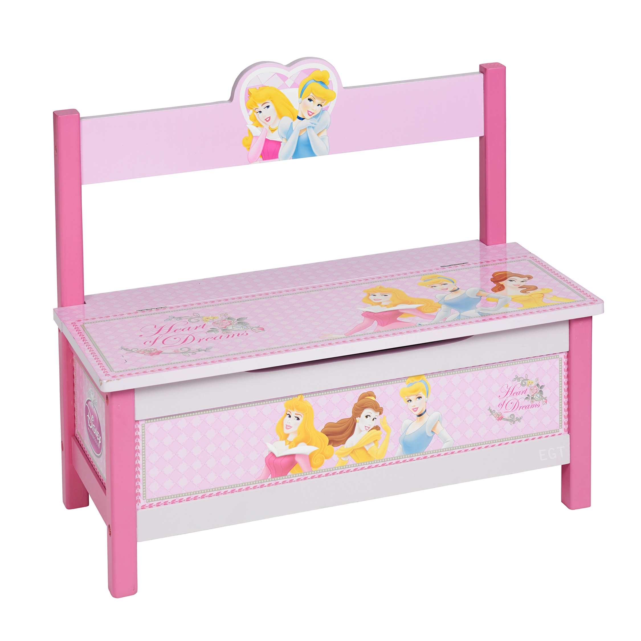 ... Princess Wooden MDF 2 in 1 Toy Storage Chest Box Bench Seat Ottoman