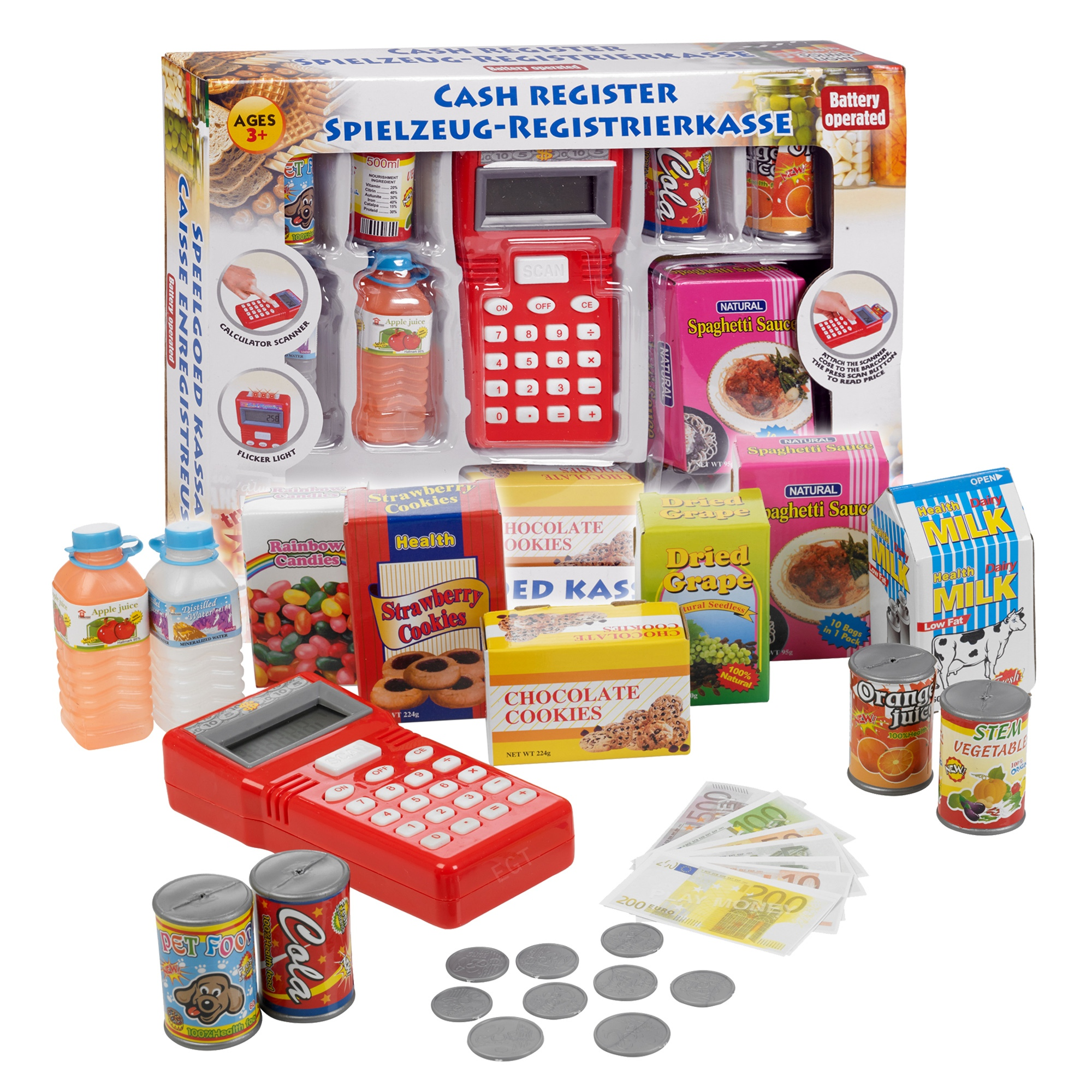 Play Money Toy : Play toy cash register with light sound scanner food