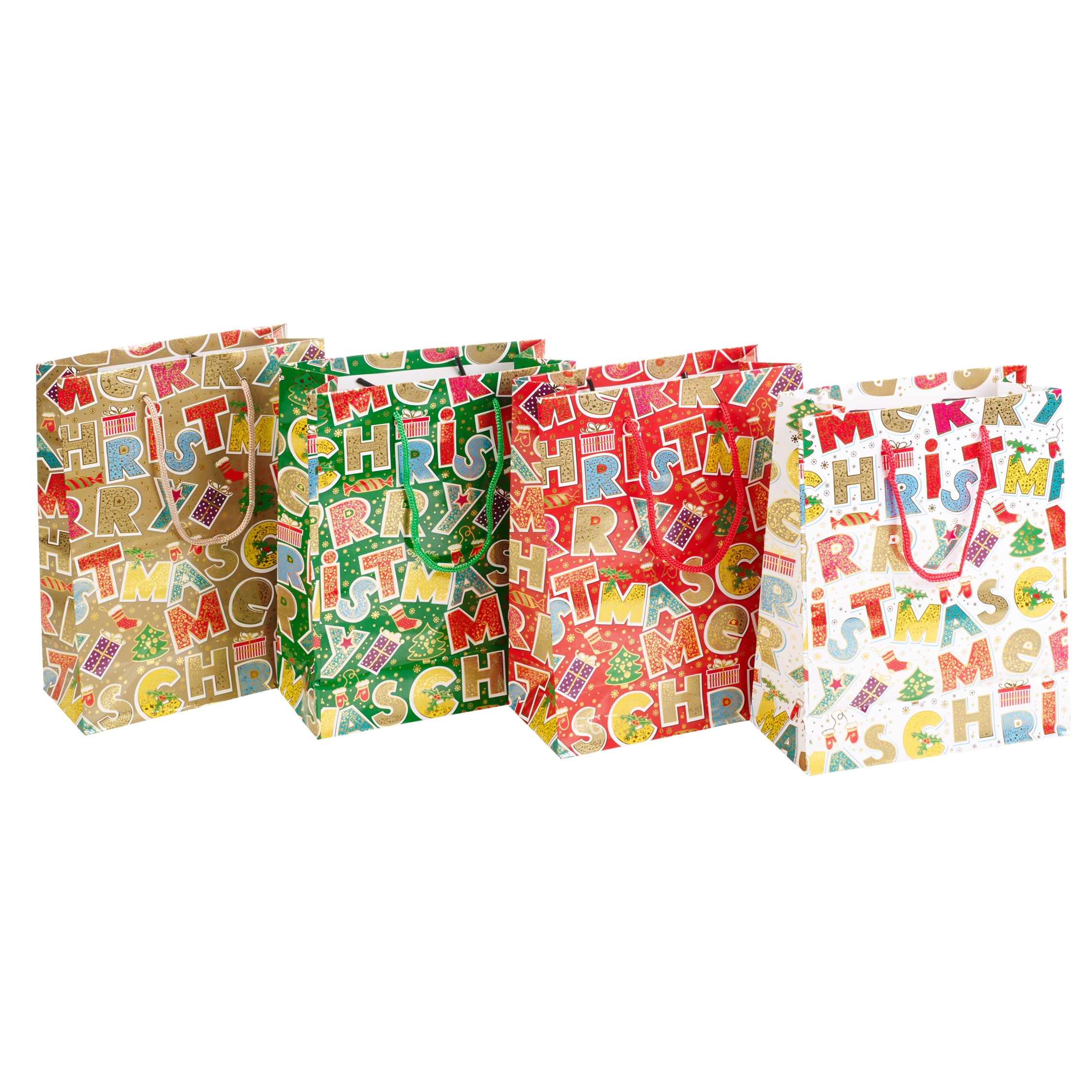 4 X Ass Merry Christmas Xmas Gift Party Bags 5 Sizes