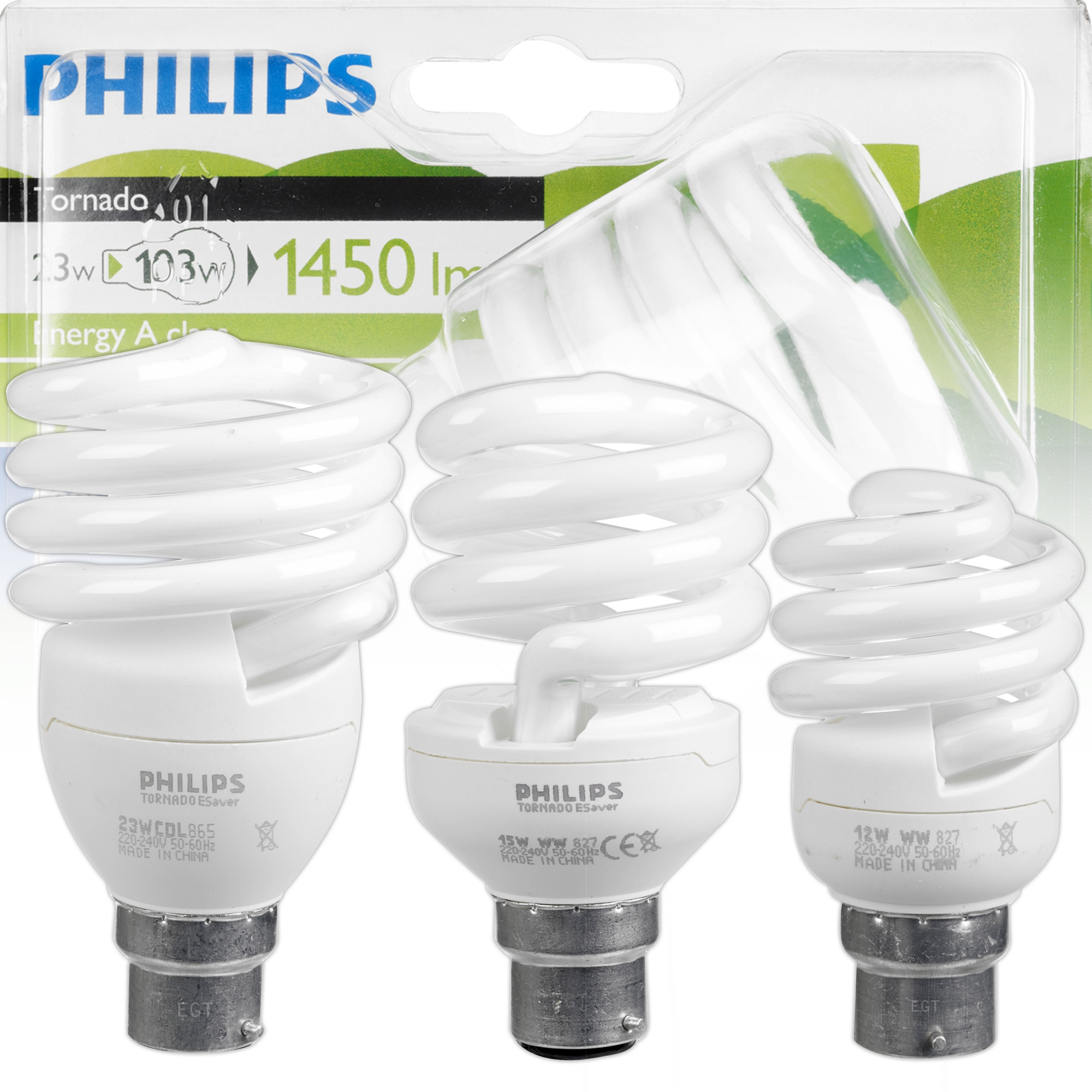 Philips Tornado Energy Saving 12w 15w 23w B22 Bayonet Cap Light Bulbs Spiral New Ebay