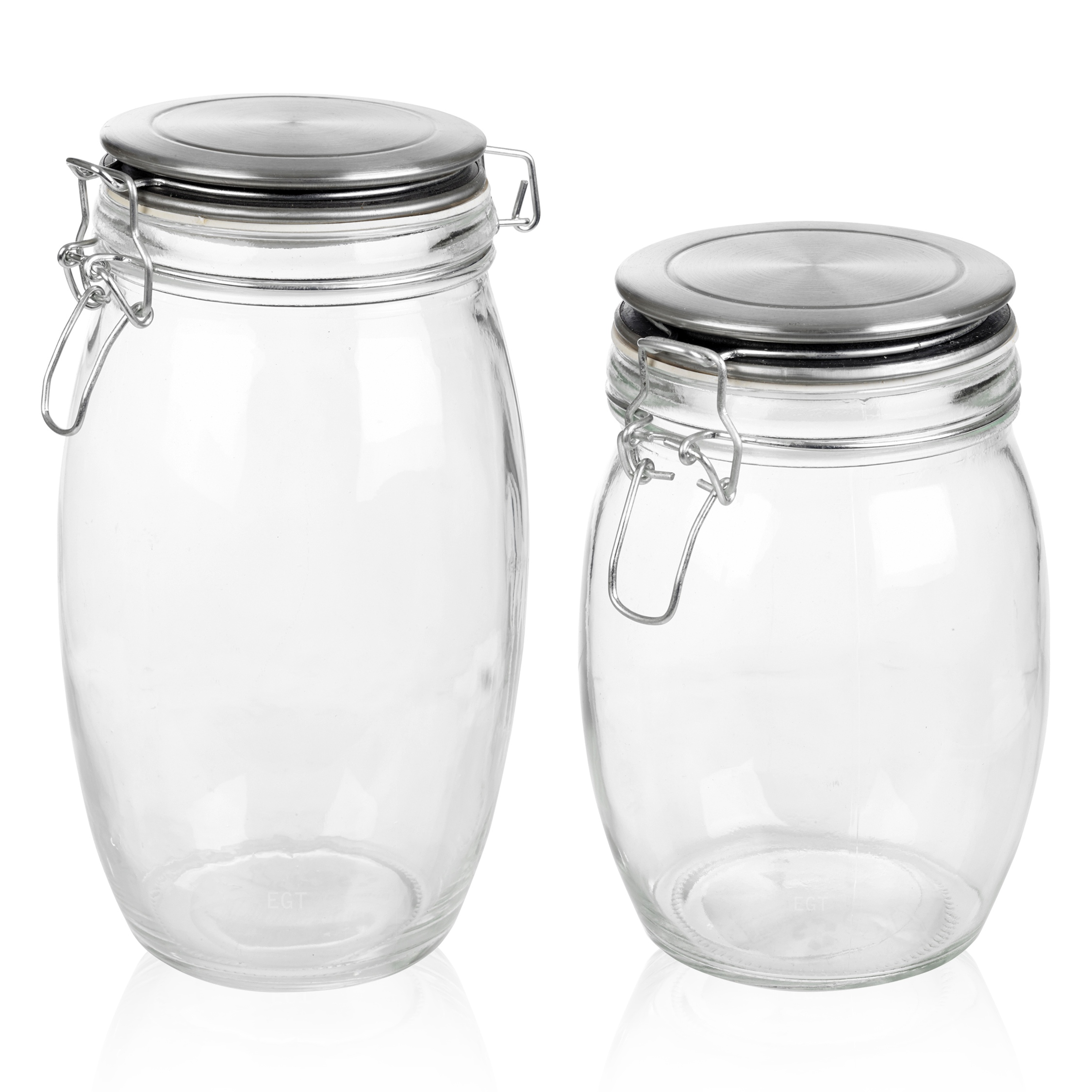 glass clamp lid kitchen storage jar air tight seal metal rice pasta cereal foods. Black Bedroom Furniture Sets. Home Design Ideas