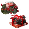 Candle in Glass Red & Wreath [904016]