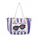 Retro Stripy Canvas Beach Bag [2056SNS]