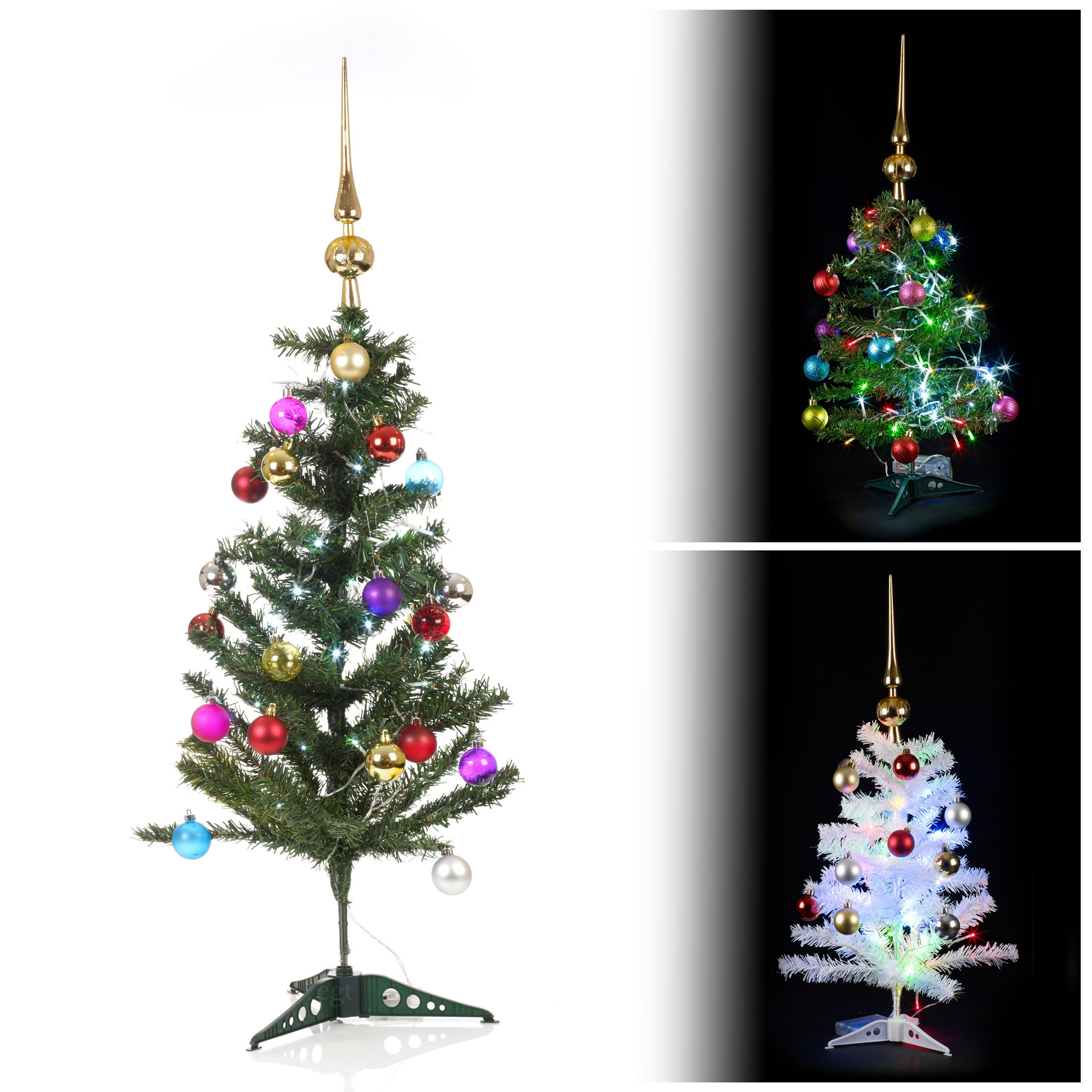 Artificial Indoor Christmas Tree With LED Lights + Baubles & Topper ...