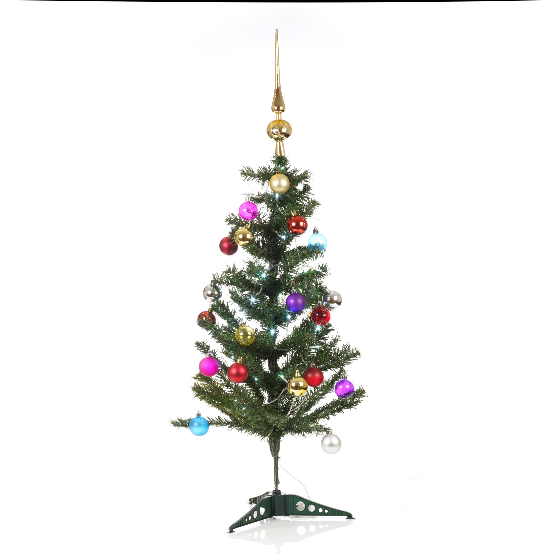 Artificial indoor christmas tree with led lights baubles for Artificial trees for decoration