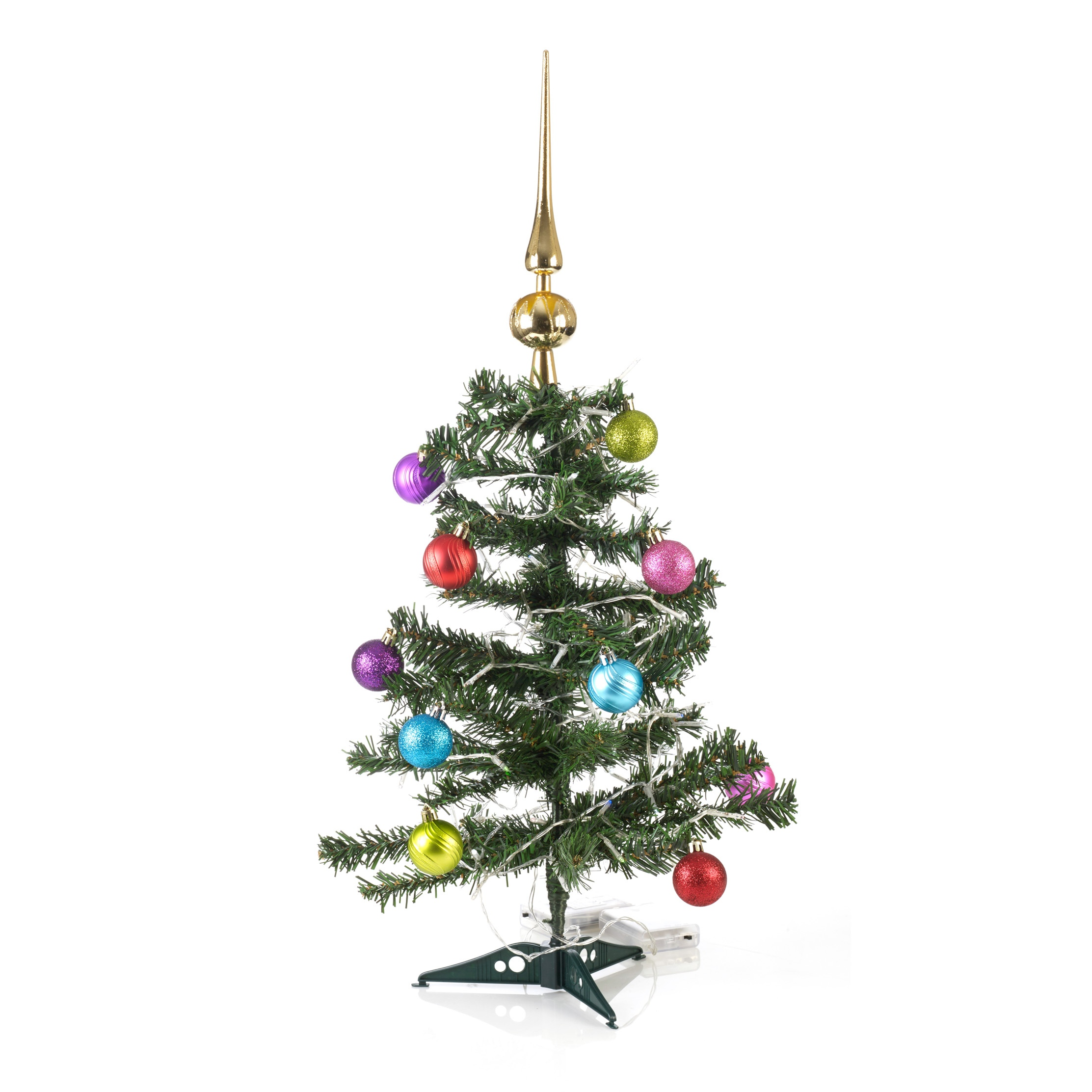 Artificial indoor christmas tree with led lights baubles for Artificial decoration