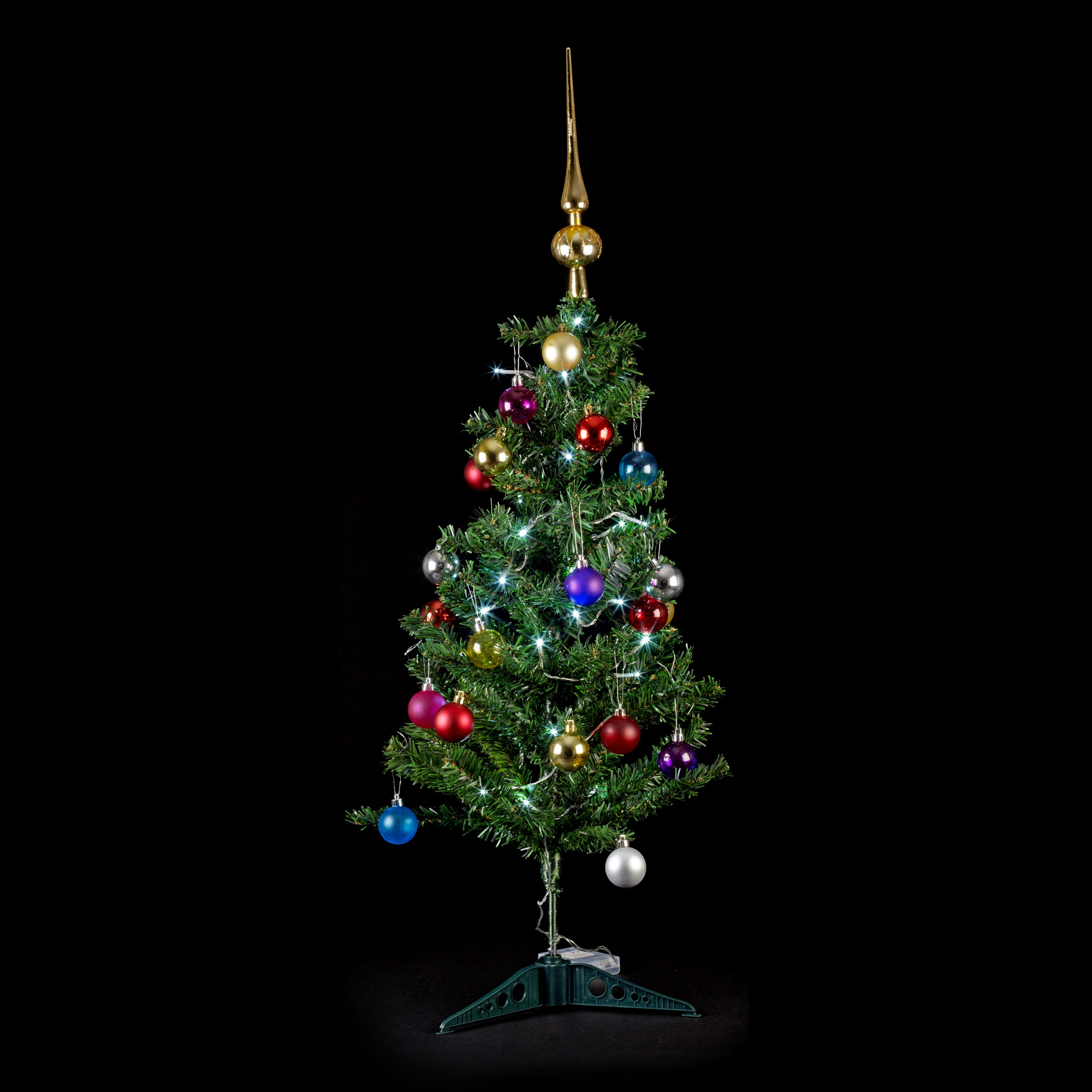 Artificial Indoor Christmas Tree With Led Lights Baubles