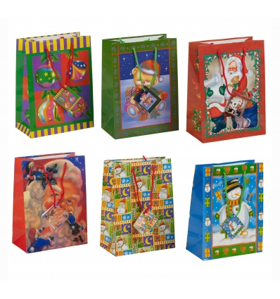 Set Of 6 Christmas Gift Bags (Medium)