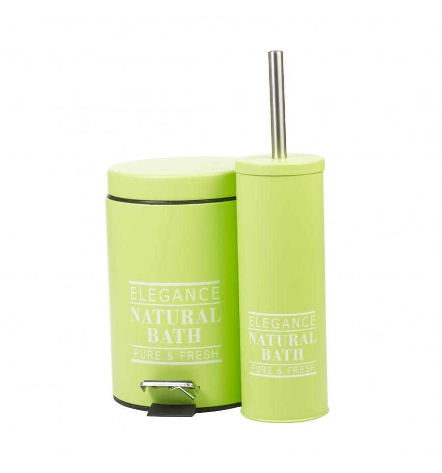 Elegance Natural Pedal Bin Amp Toilet Brush Set