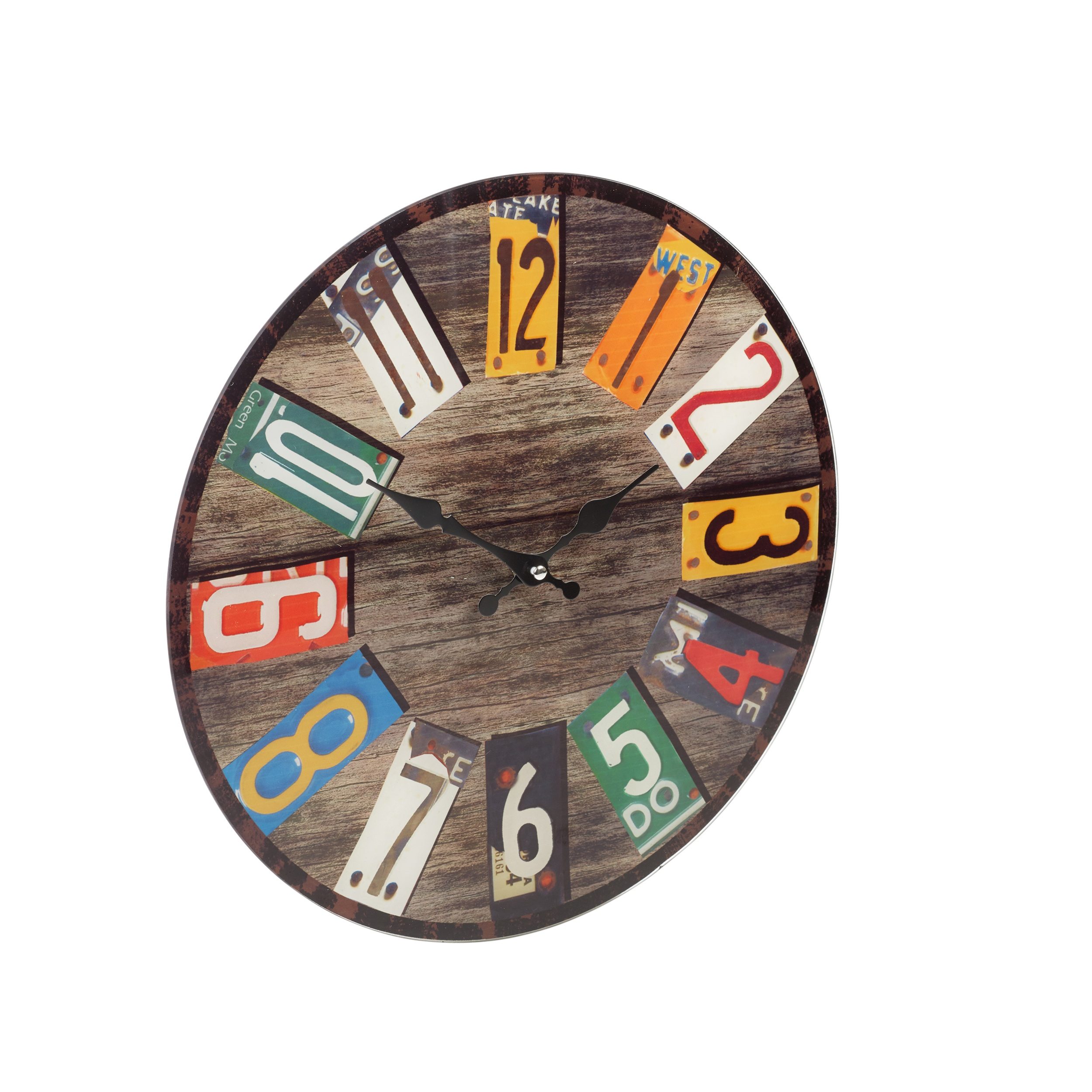 38cm large round glass shabby wall clock vintage retro antique 38cm large round glass shabby wall clock vintage retro antique distressed style ebay amipublicfo Gallery