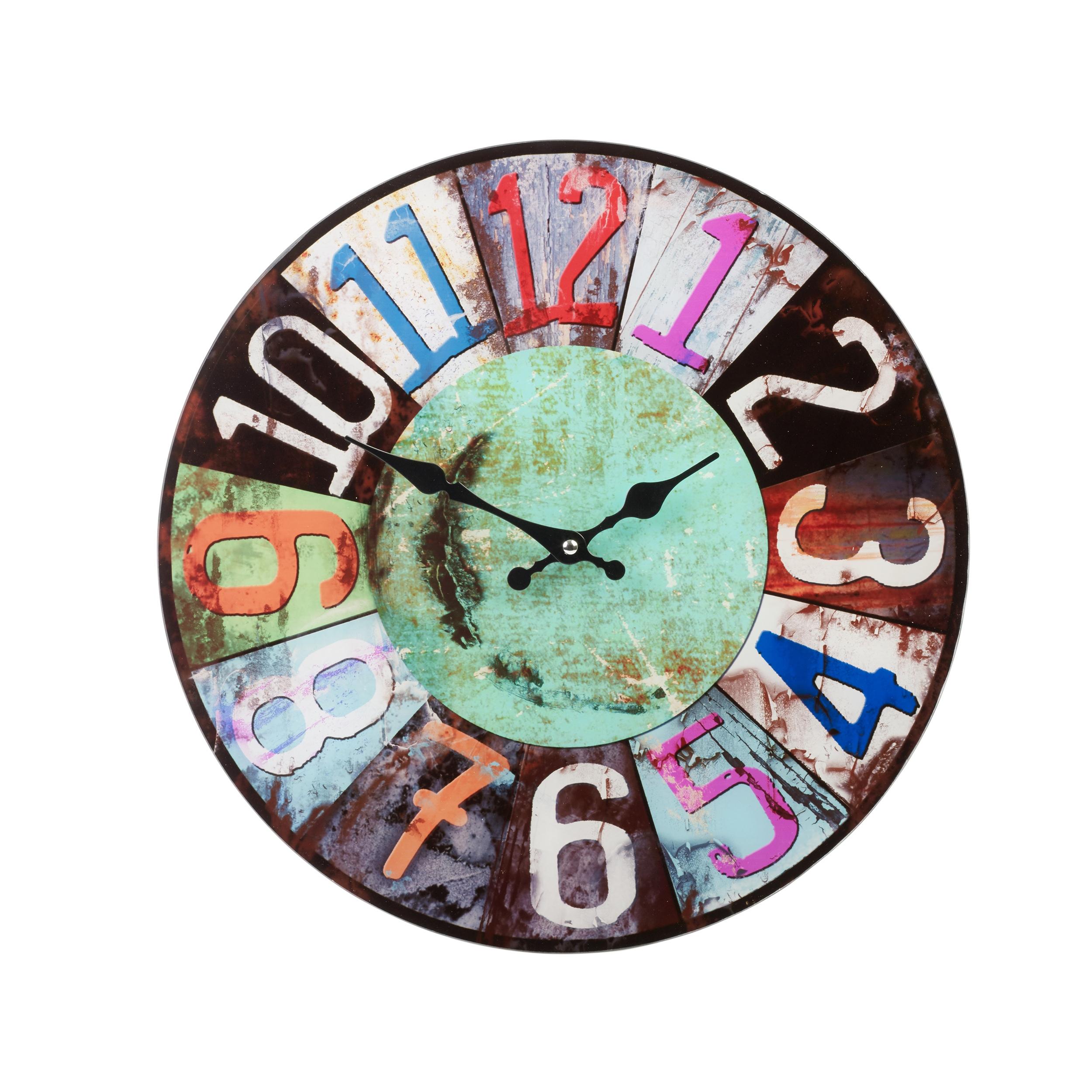 38cm Large Round Glass Shabby Wall Clock Vintage Retro ...