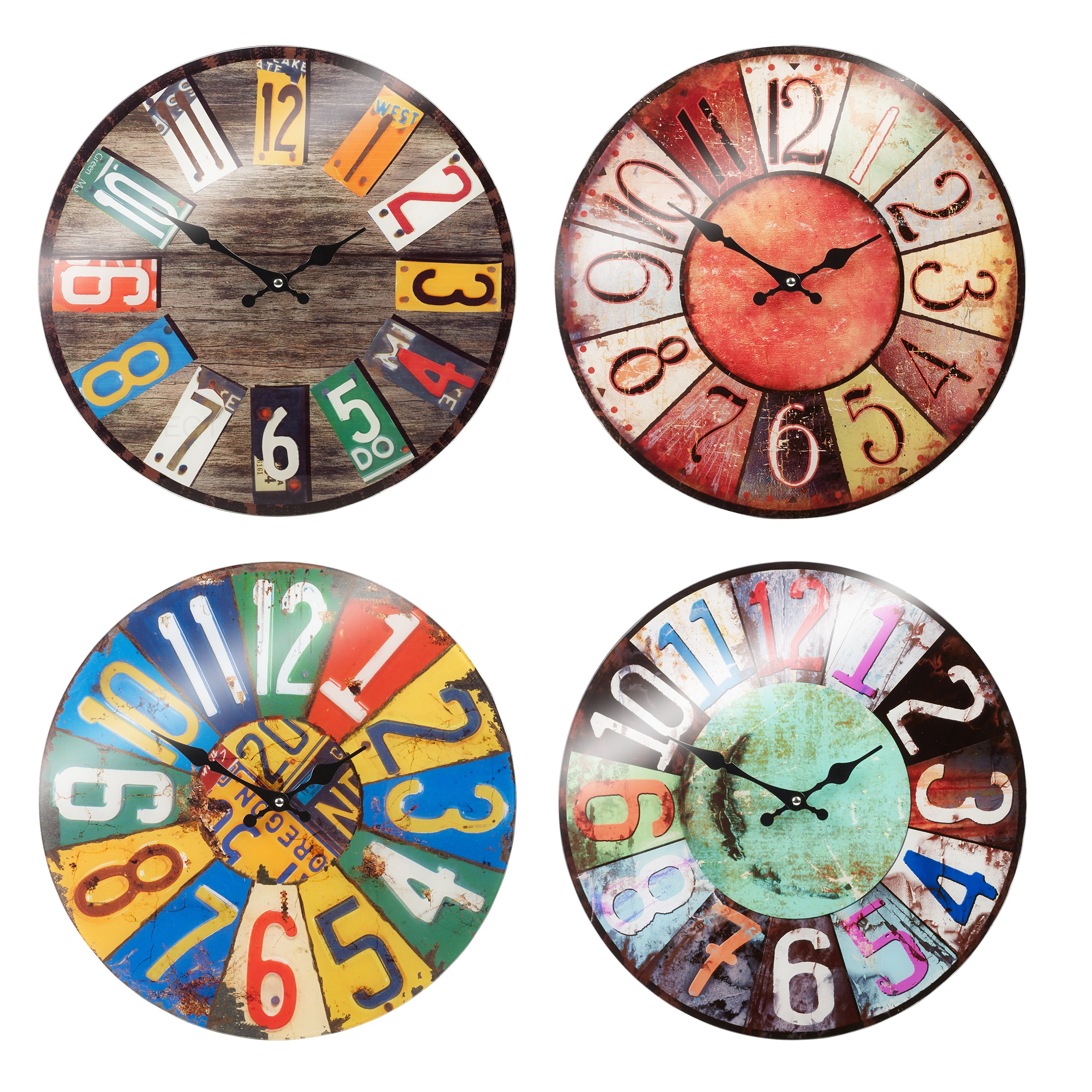 38cm large round glass shabby wall clock vintage retro - Horloge murale 60 cm ...