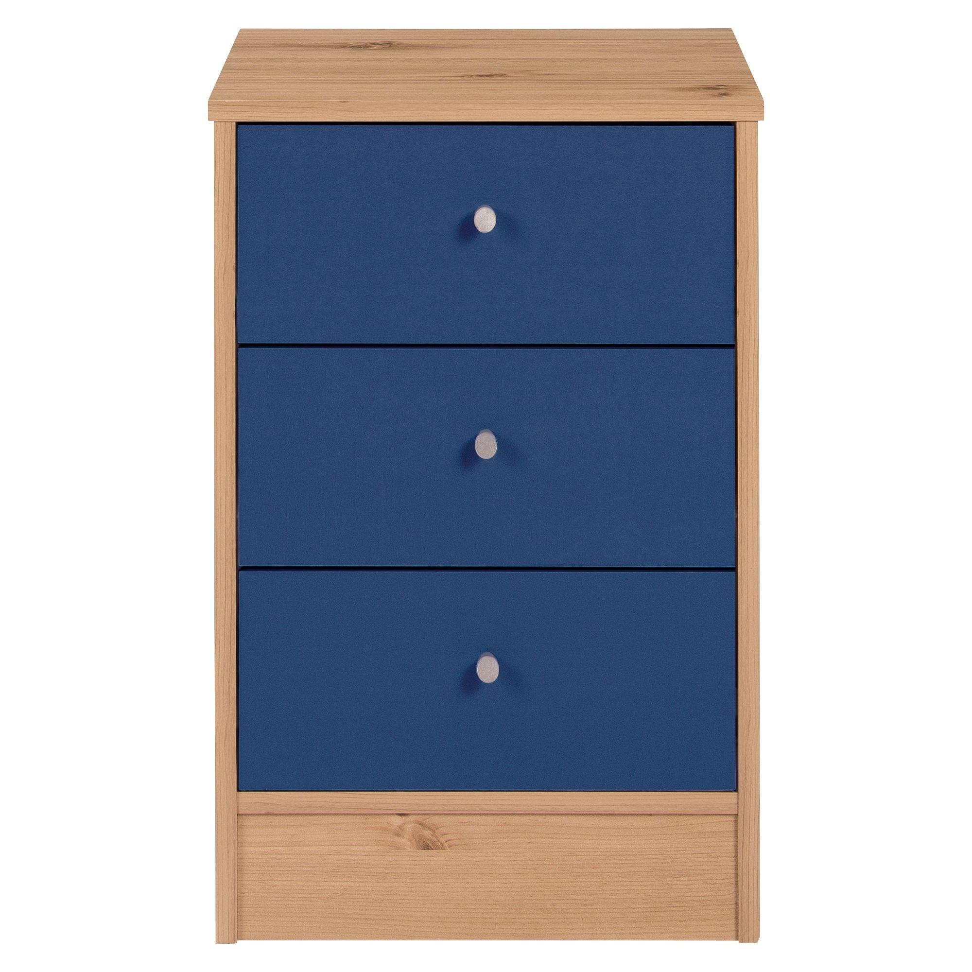 Malibu 3 Schublade Bett Brust Zieht Blau Auf Kiefer Tisch