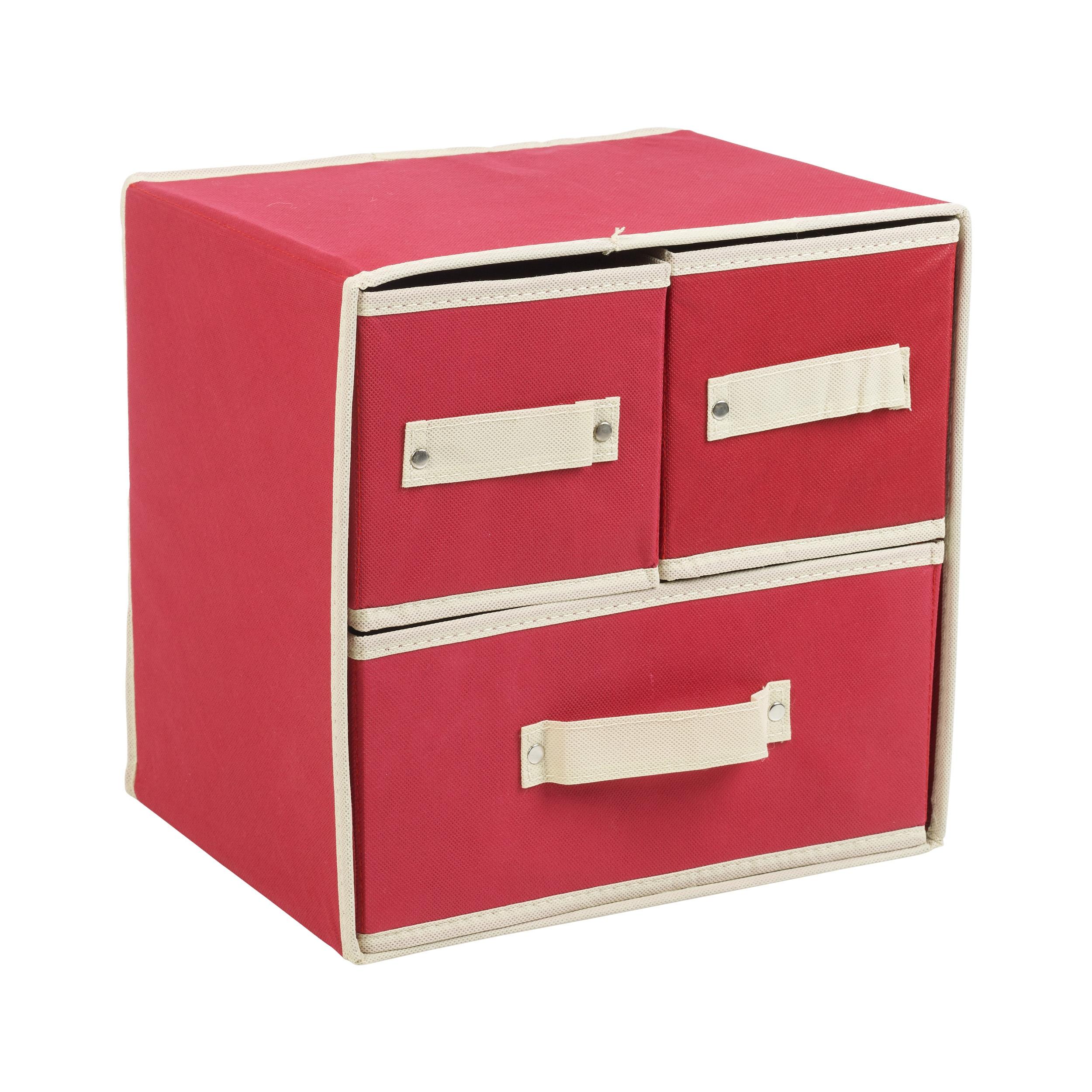 klappbar stoff 3 schublade aufbewahrungsboxen beh lter bohrerspitzen bobs ebay. Black Bedroom Furniture Sets. Home Design Ideas