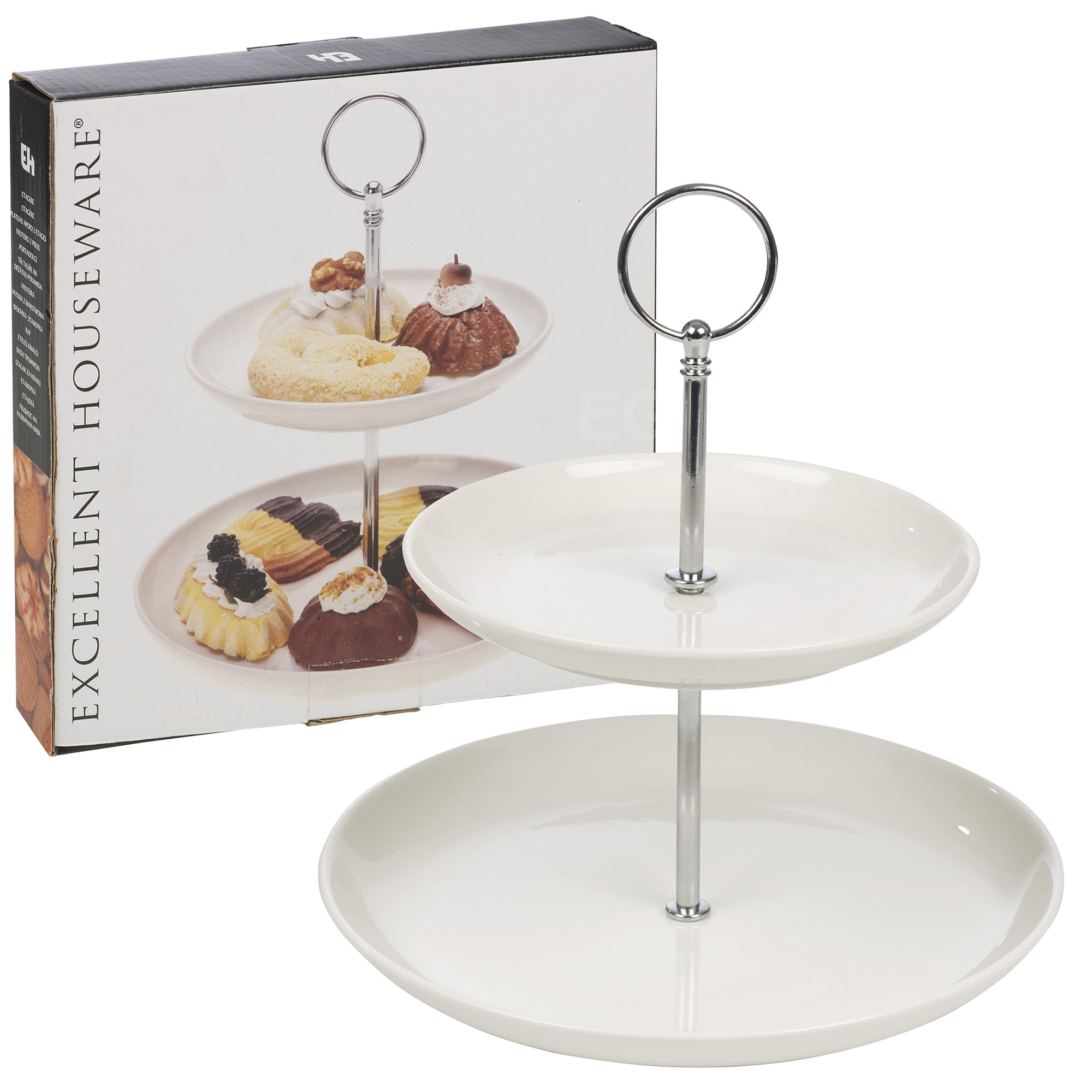 2 layer tier ceramic round serving display cakes platter for Canape display stands