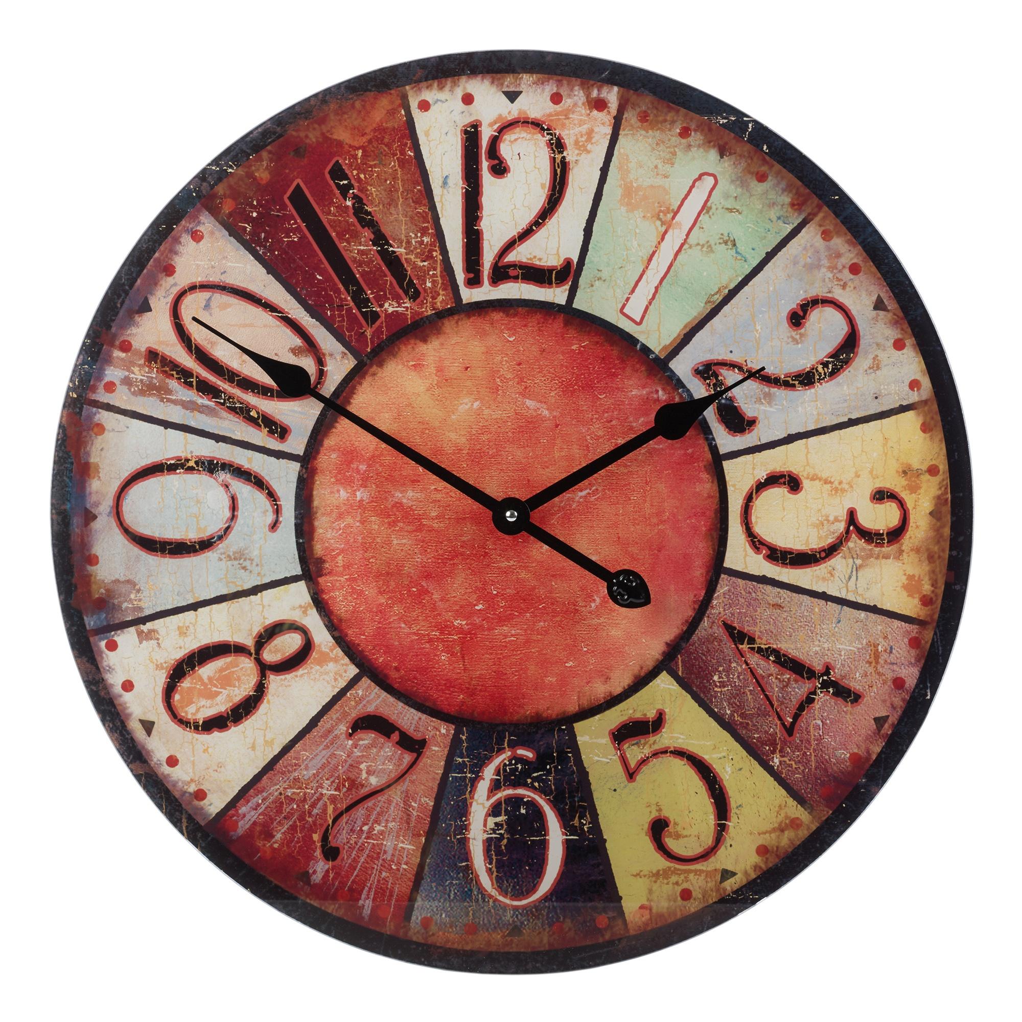 57cm Large Round Glass Shabby Wall Clock Vintage Retro ...