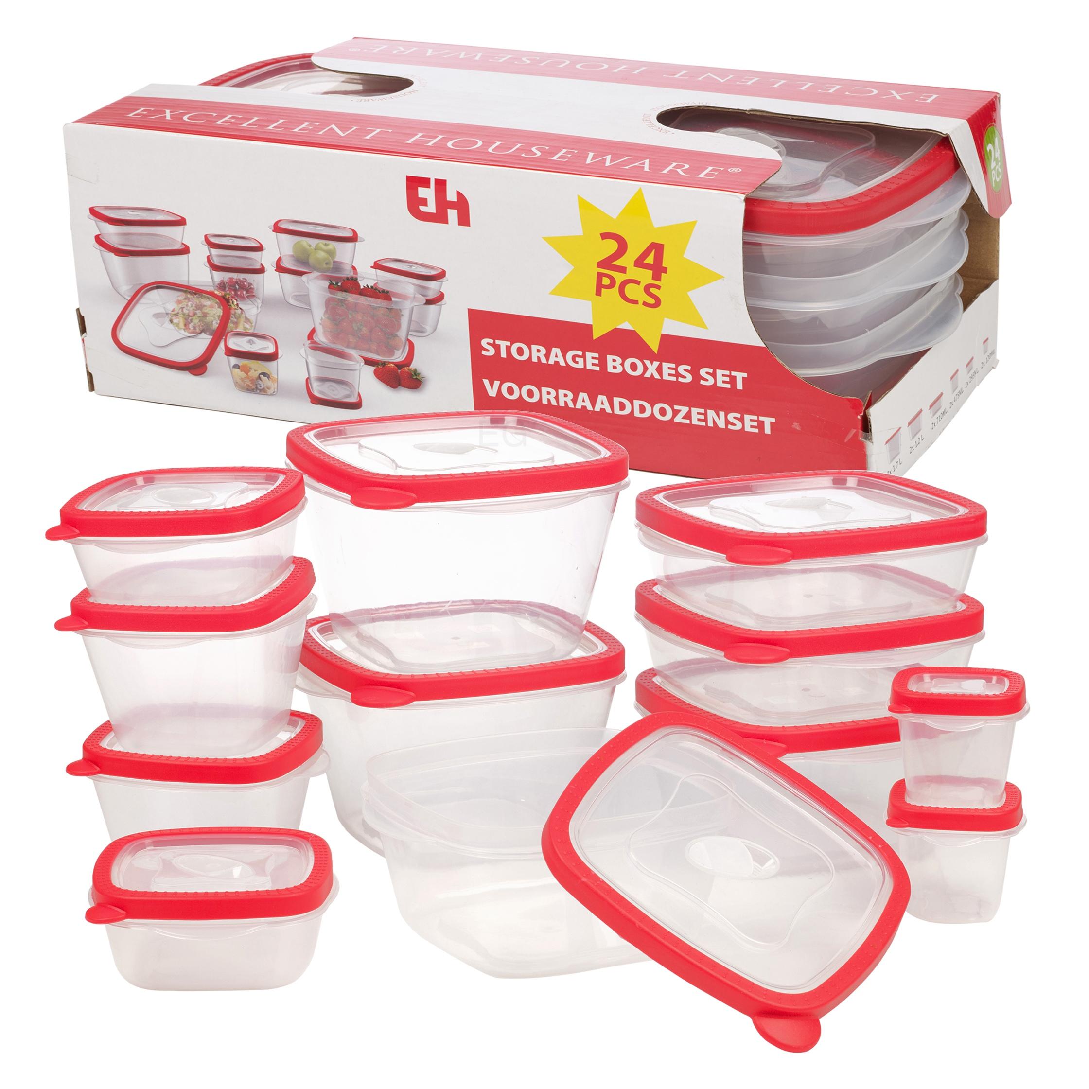 12 bpa free plastic food storage box containers lids set microwave dishwasher ebay. Black Bedroom Furniture Sets. Home Design Ideas