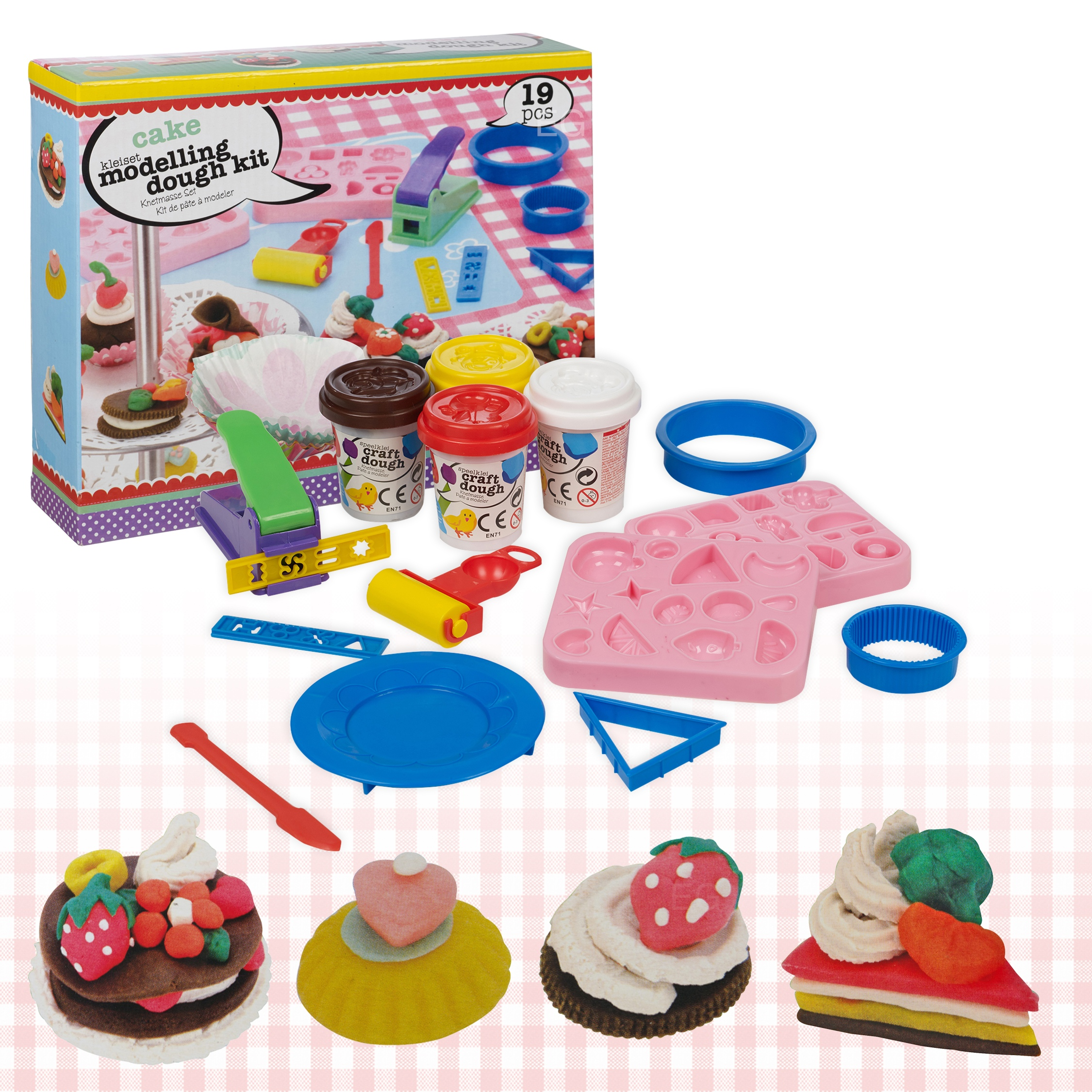 Playdough Cake Decorating Kit : Cake Modelling Play Dough 19pc Kit Tools Accessories Set 4 ...
